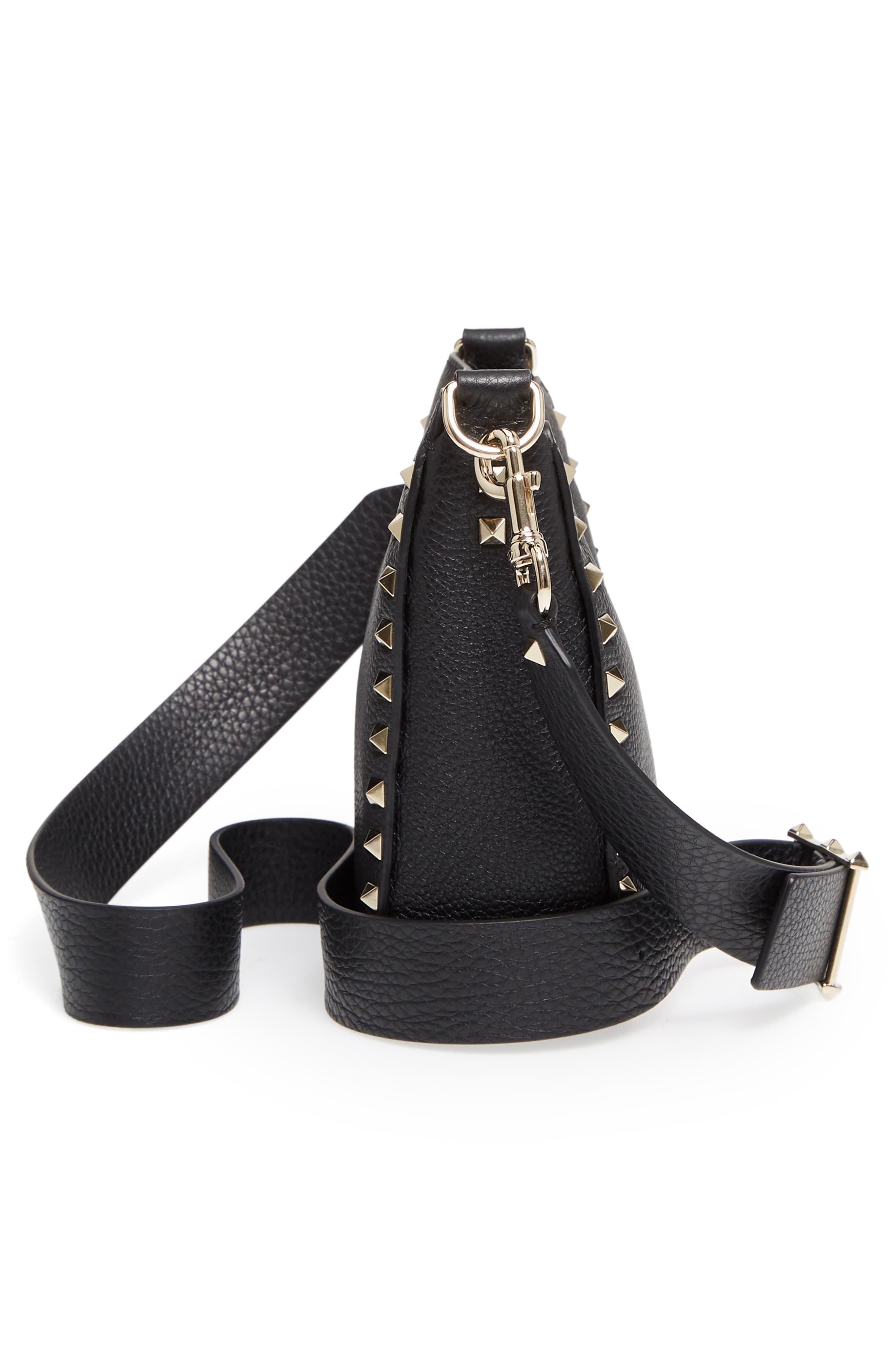 Rockstud Mini Hobo Crossbody Bag,                             Alternate thumbnail 5, color,                             BLACK