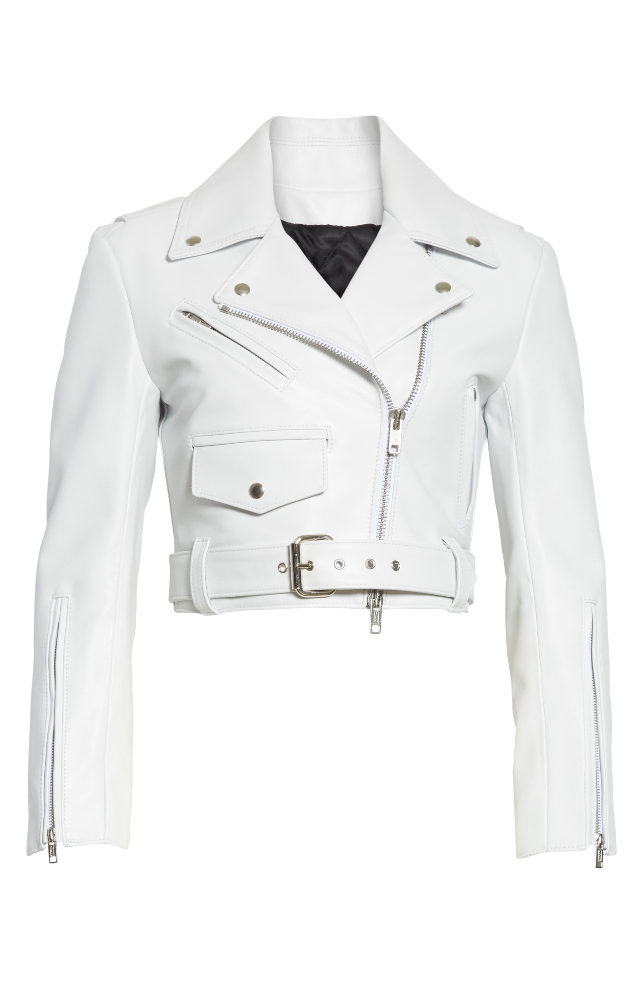 Plongé Leather Crop Moto Jacket,                             Alternate thumbnail 5, color,                             101