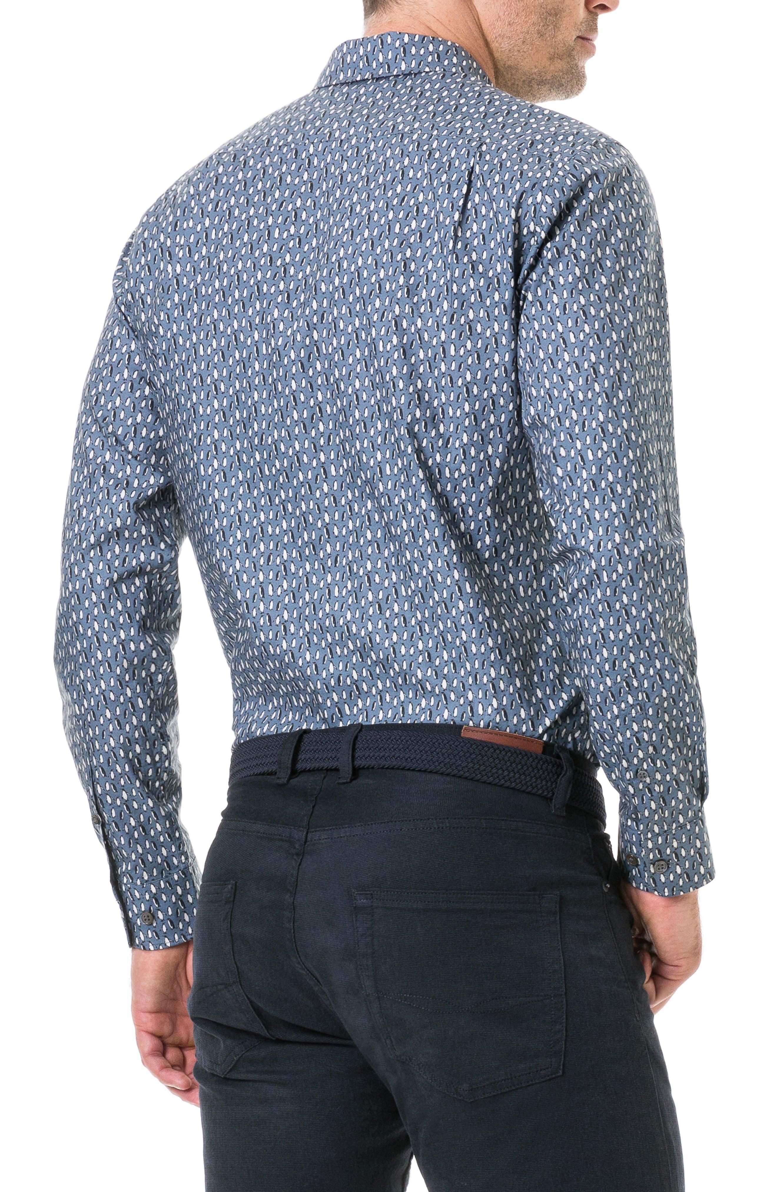 Chappel West Regular Fit Penguin Print Sport Shirt,                             Alternate thumbnail 3, color,                             BLUE GRAPHITE