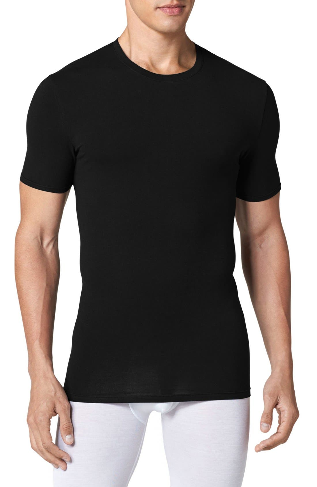 Cool Cotton Crewneck Undershirt,                             Main thumbnail 1, color,                             BLACK