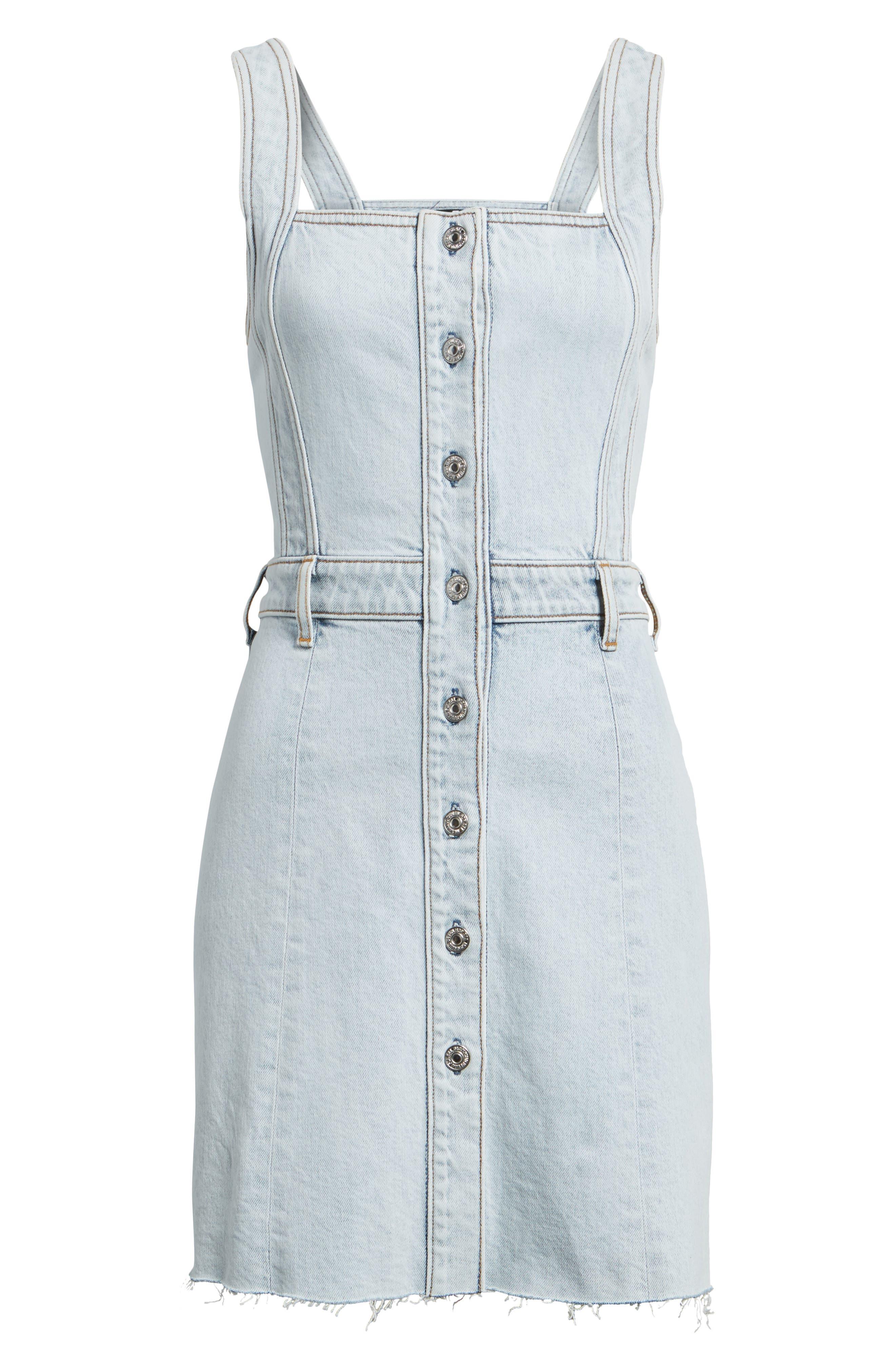 Denim Pinafore Dress,                             Alternate thumbnail 6, color,                             402