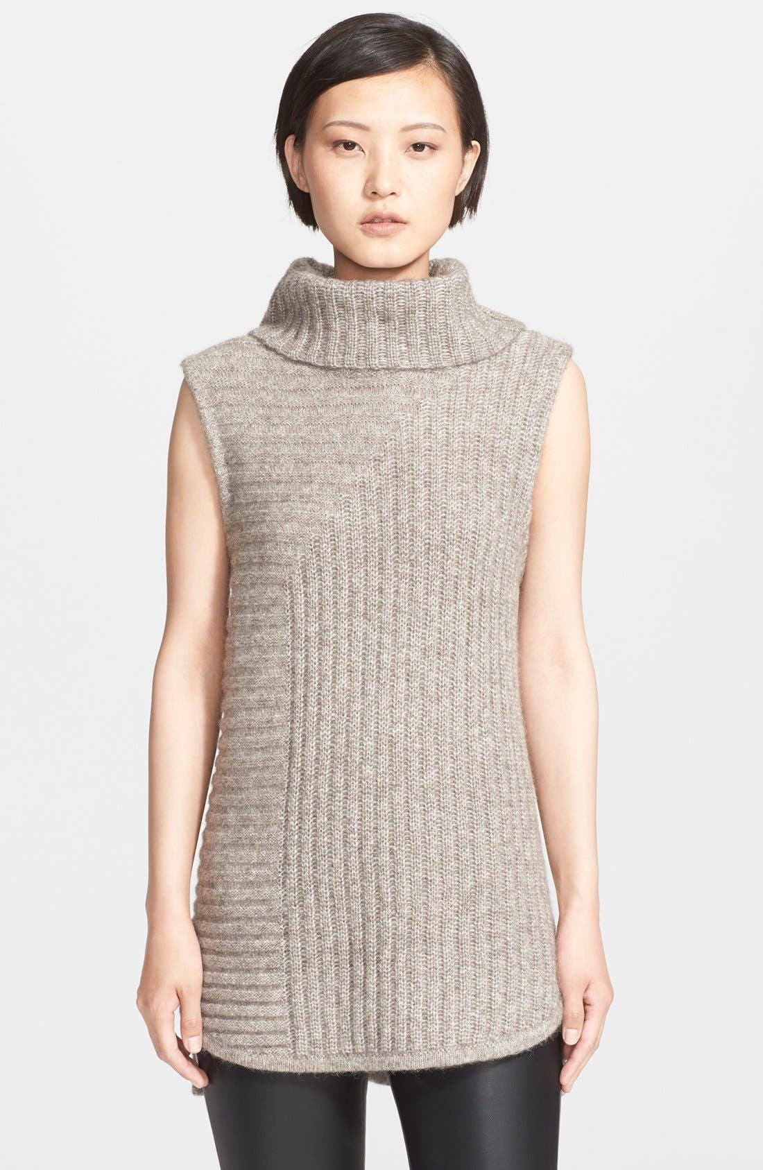 THEORY,                             'Beylor T' Ribbed Knit Turtleneck Tunic Vest,                             Main thumbnail 1, color,                             036