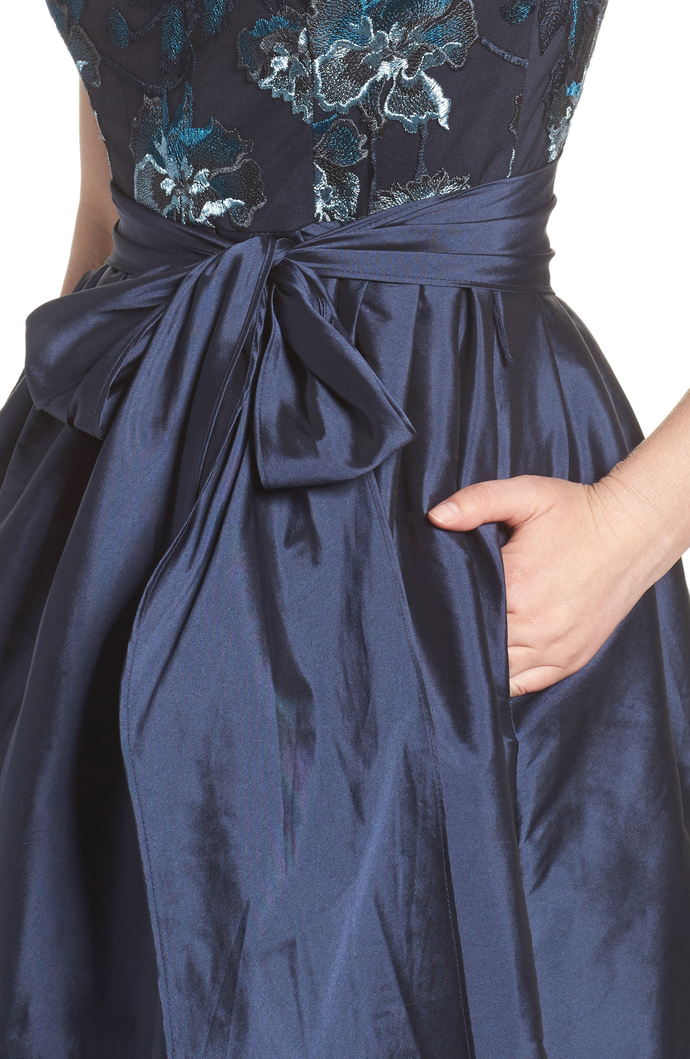 Embroidered Taffeta High/Low Gown,                             Alternate thumbnail 4, color,
