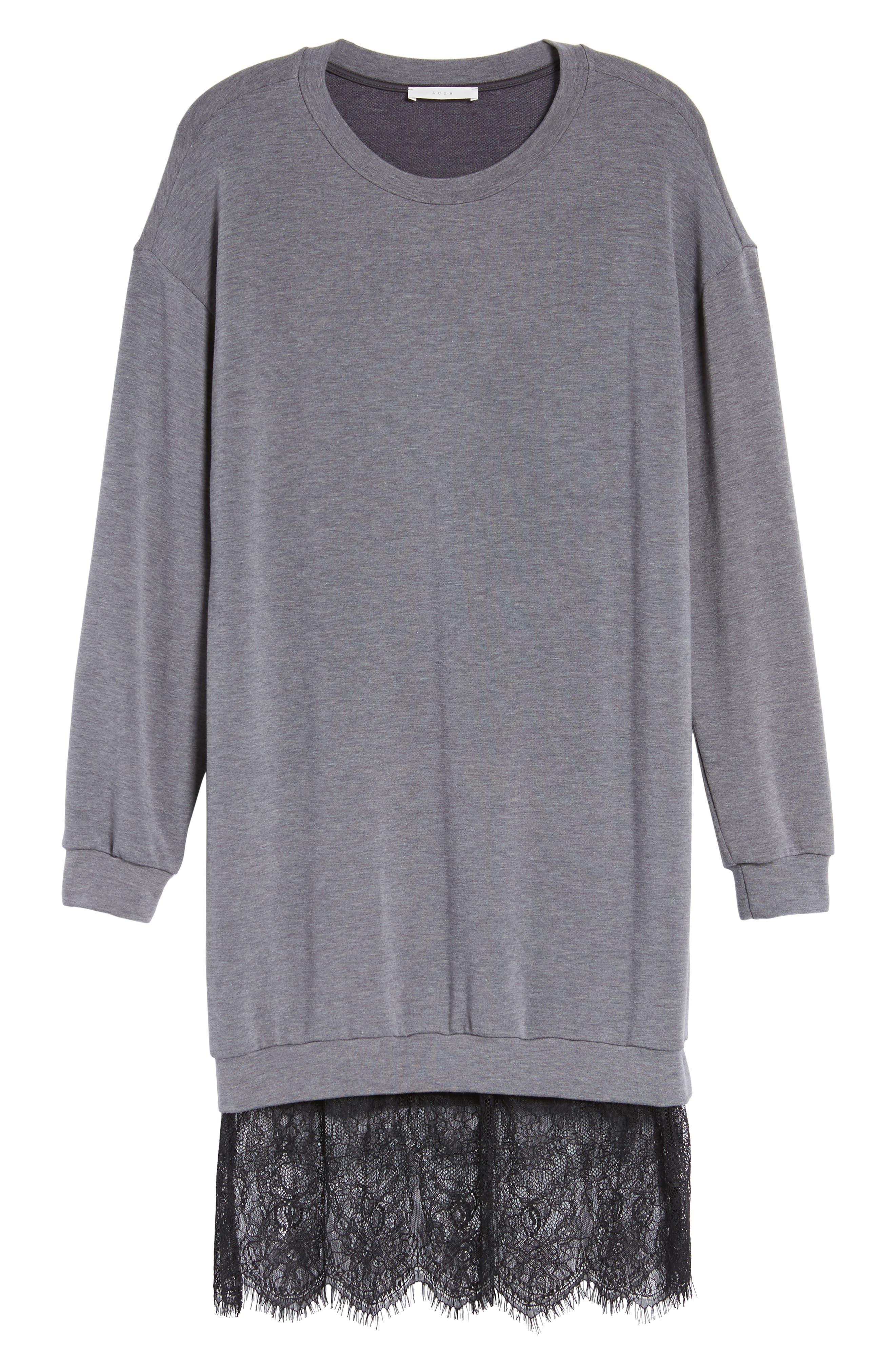 Lace Hem Sweatshirt Dress,                             Alternate thumbnail 6, color,                             002