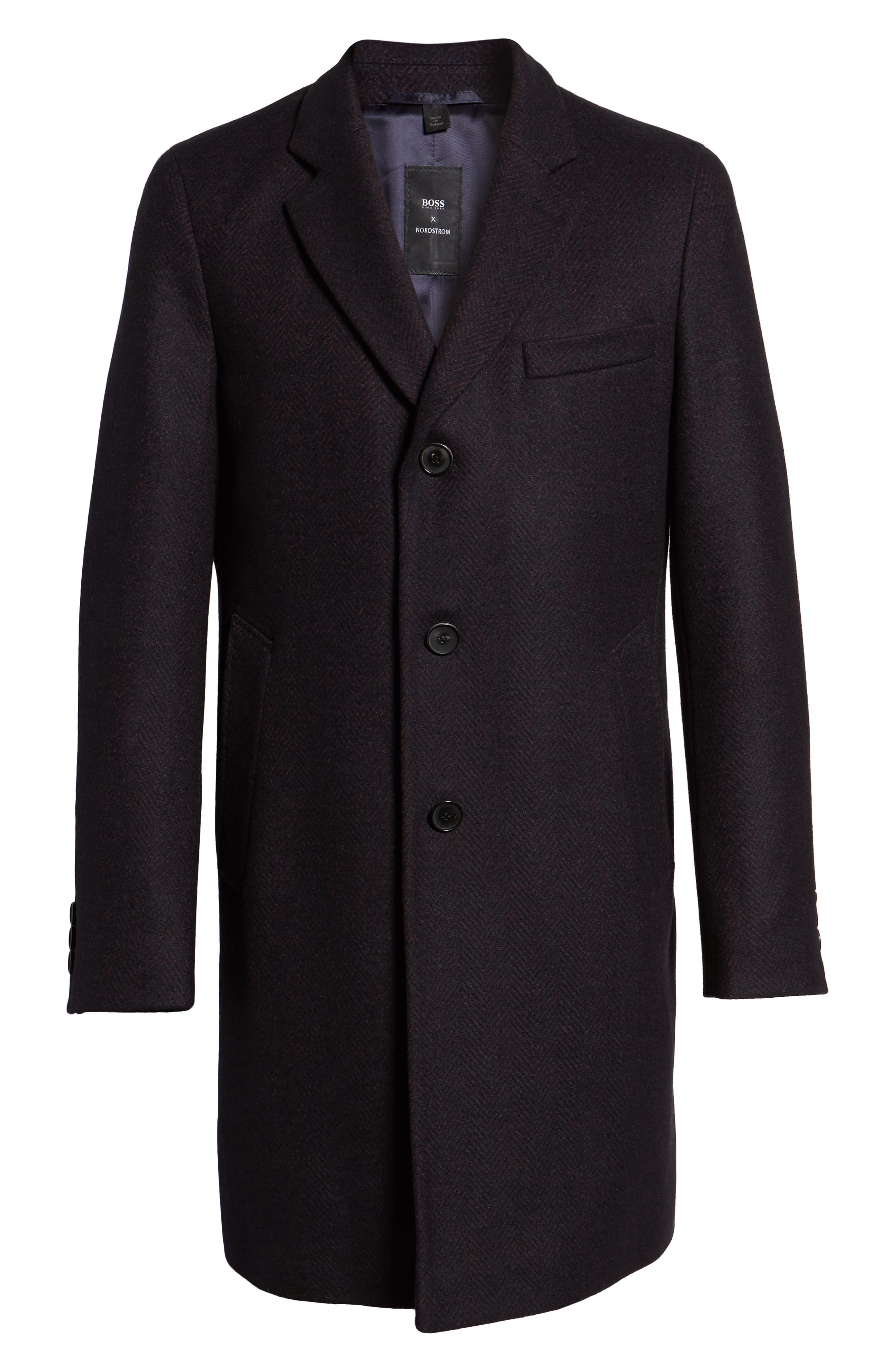 x Nordstrom Nye Wool Blend Top Coat,                             Alternate thumbnail 5, color,                             DARK RED