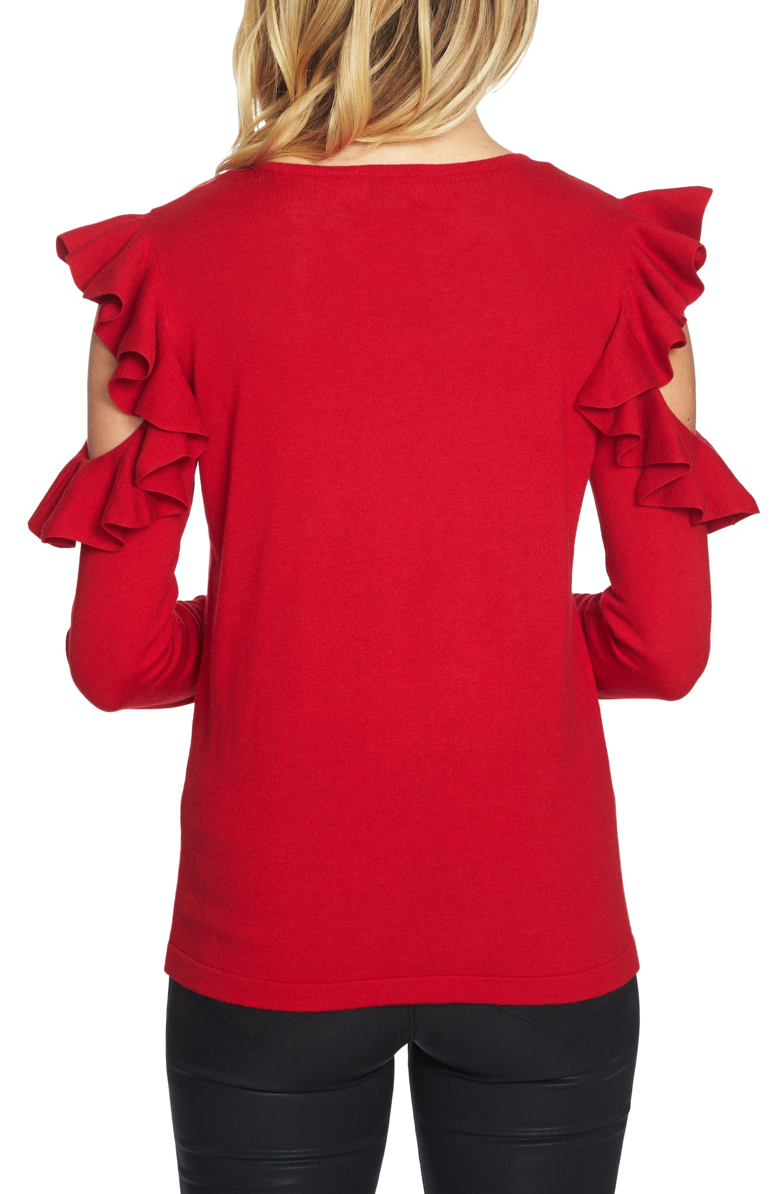 Ruffled Cold Shoulder Sweater,                             Alternate thumbnail 10, color,