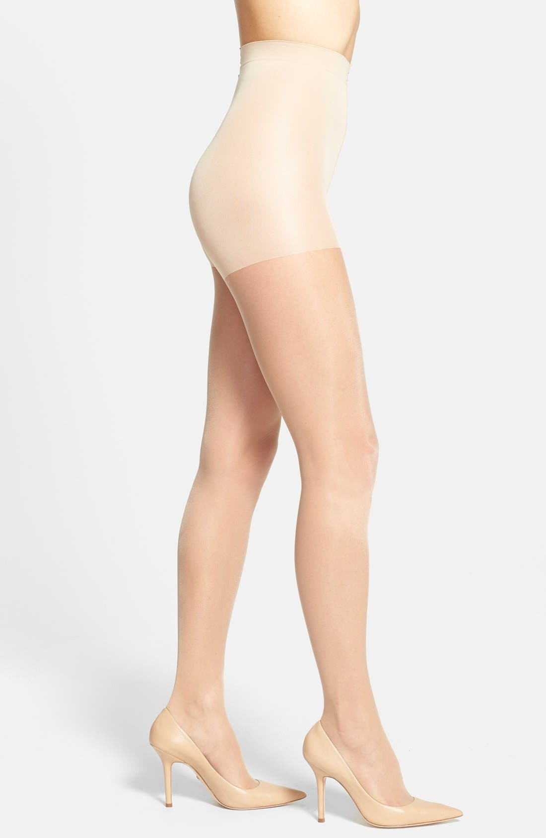 CALVIN KLEIN 'Sheer Essentials - Matte Ultra Sheer' Control Top Pantyhose, Main, color, BUFF