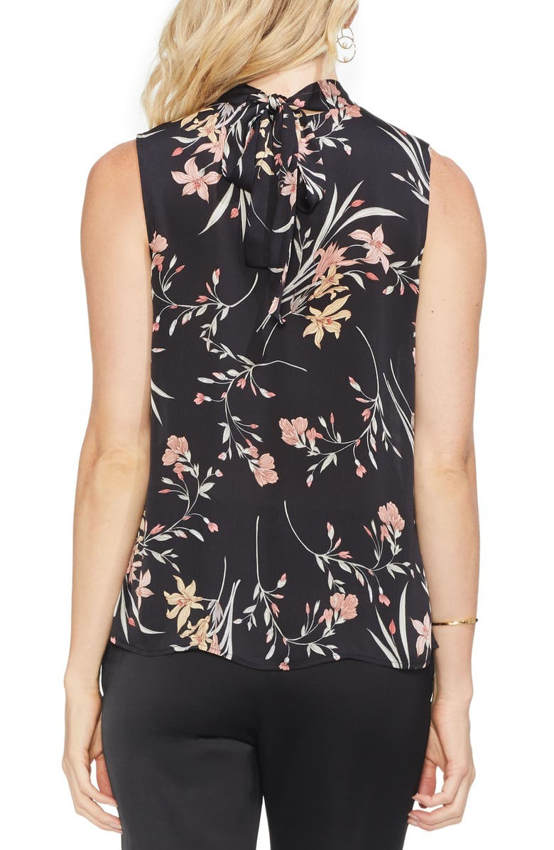 VINCE CAMUTO Blouses FLORAL SOIREE RUCHED SLEEVELESS BLOUSE
