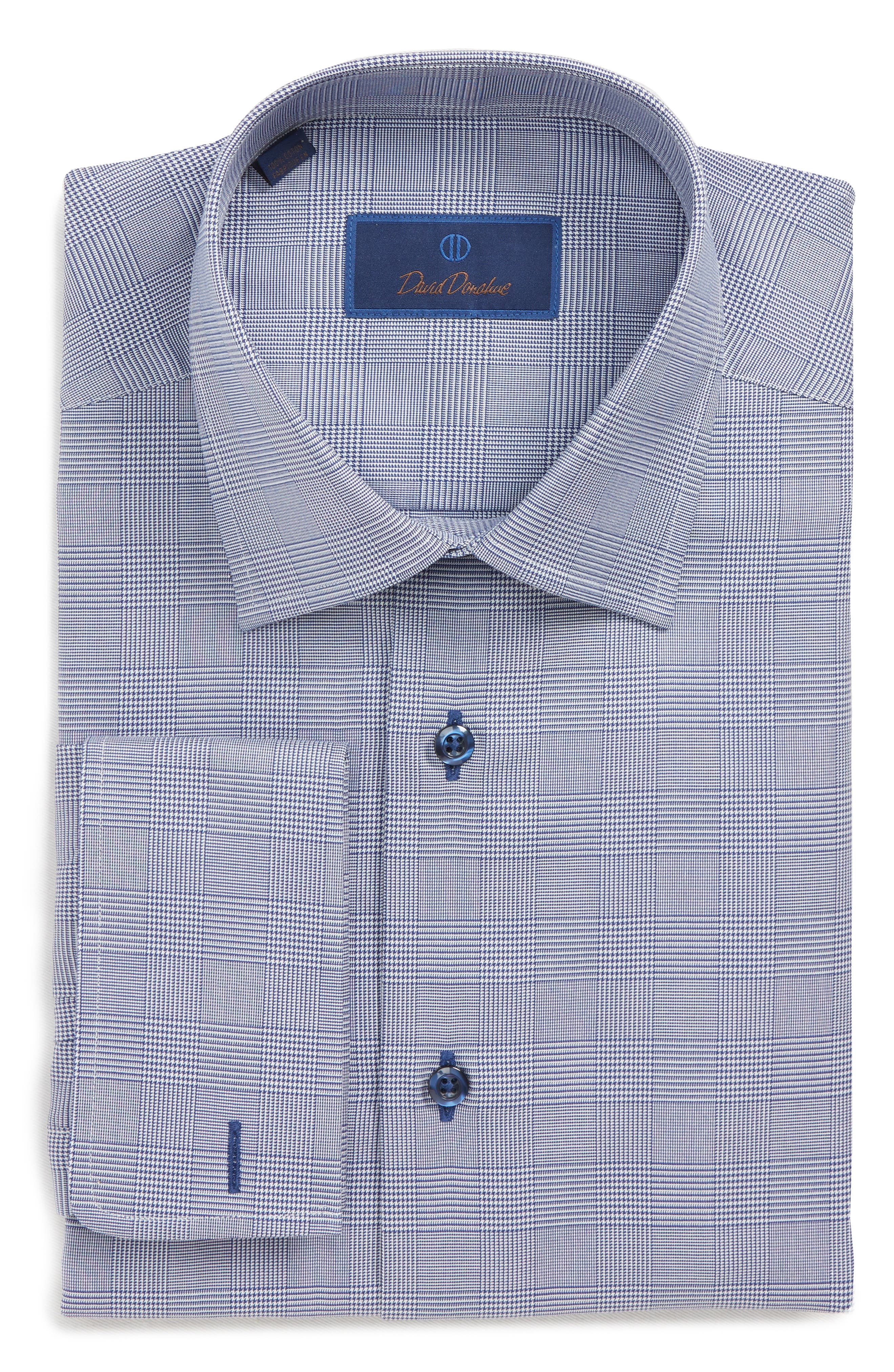 Regular Fit Plaid Dress Shirt,                         Main,                         color, NAVY