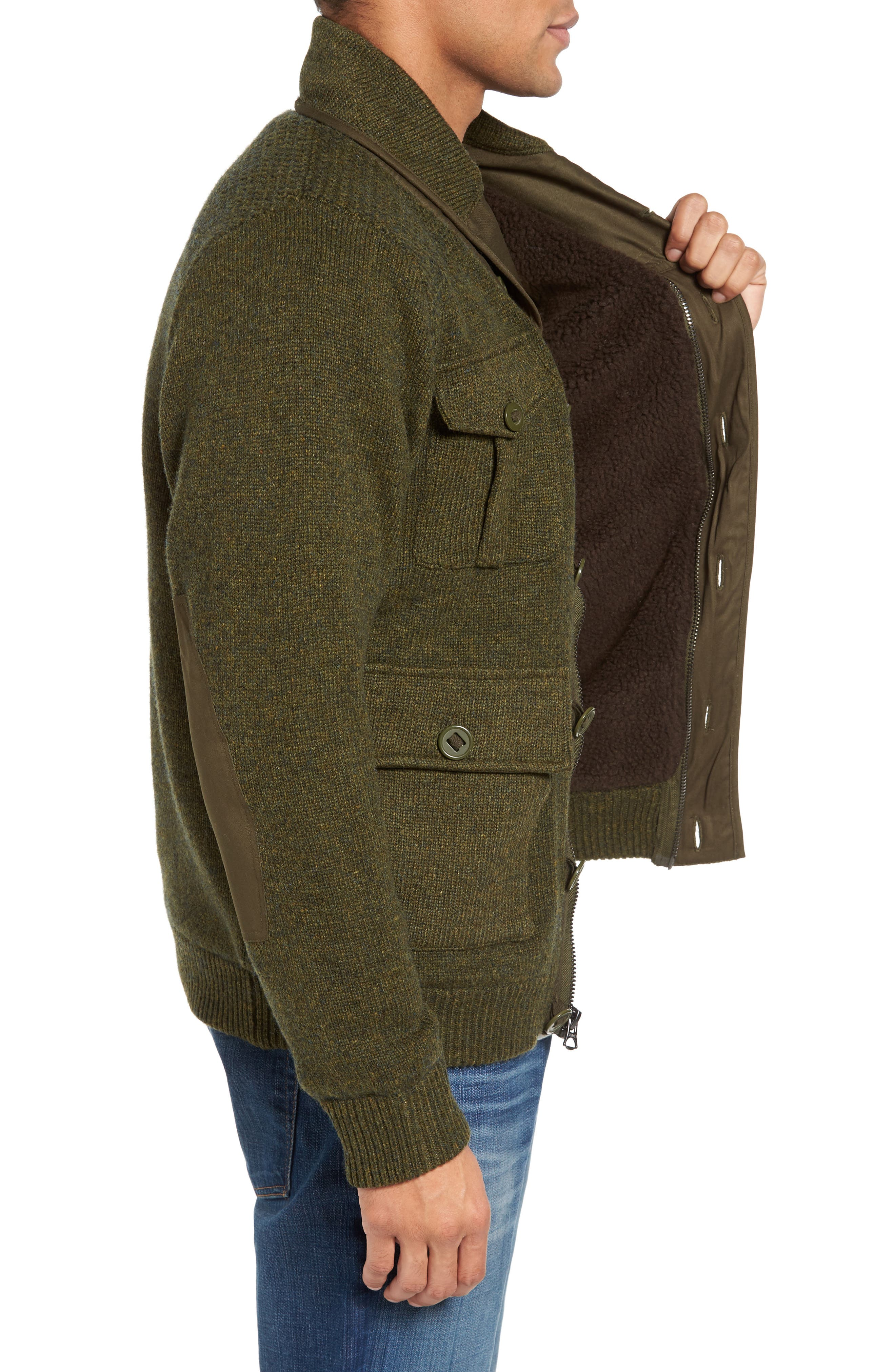 Military Sherpa-Lined Sweater Jacket,                             Alternate thumbnail 8, color,