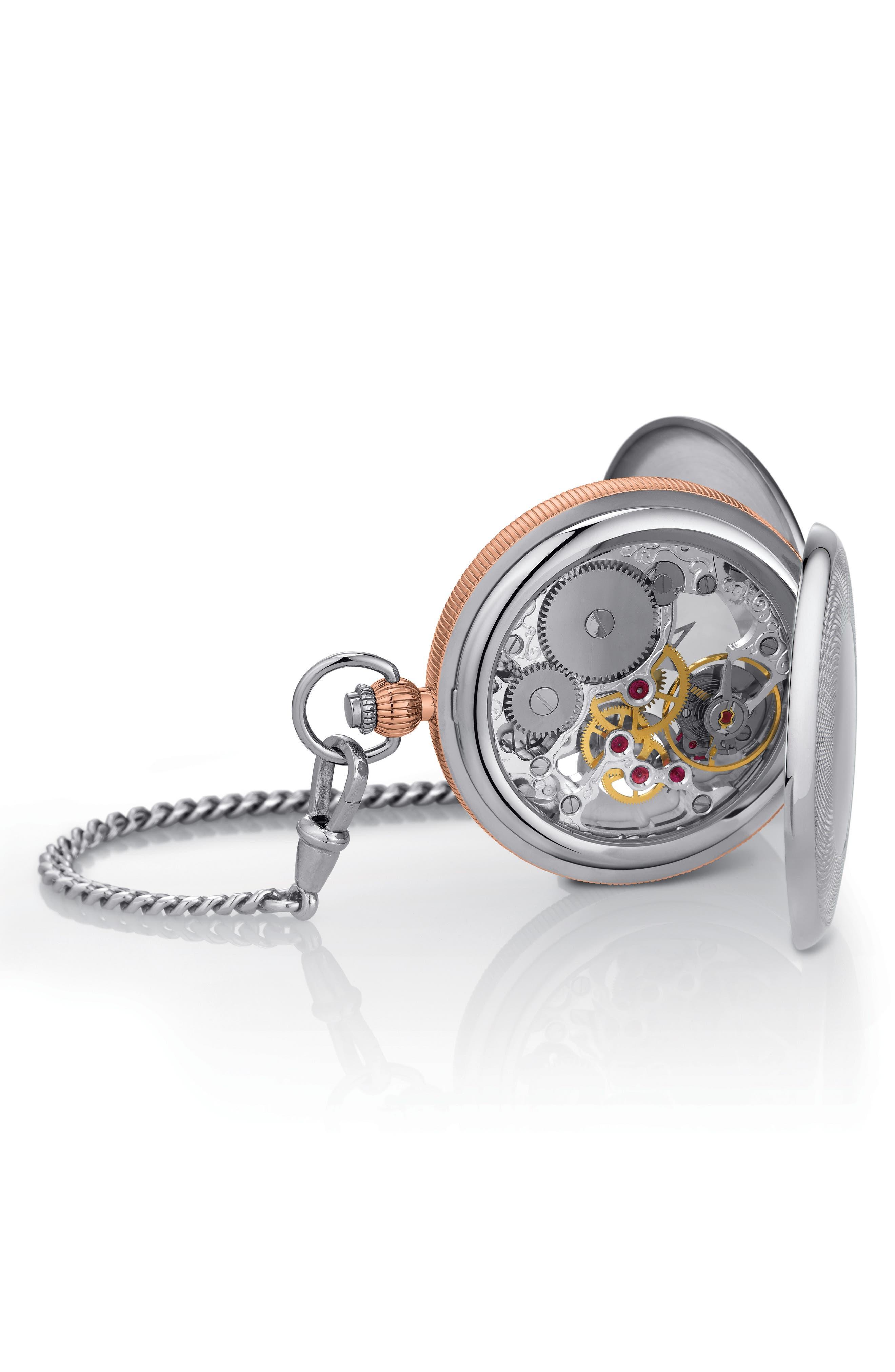 Bridgeport Mechanical Pocket Watch, 47mm,                             Alternate thumbnail 3, color,                             SILVER/ ROSE GOLD