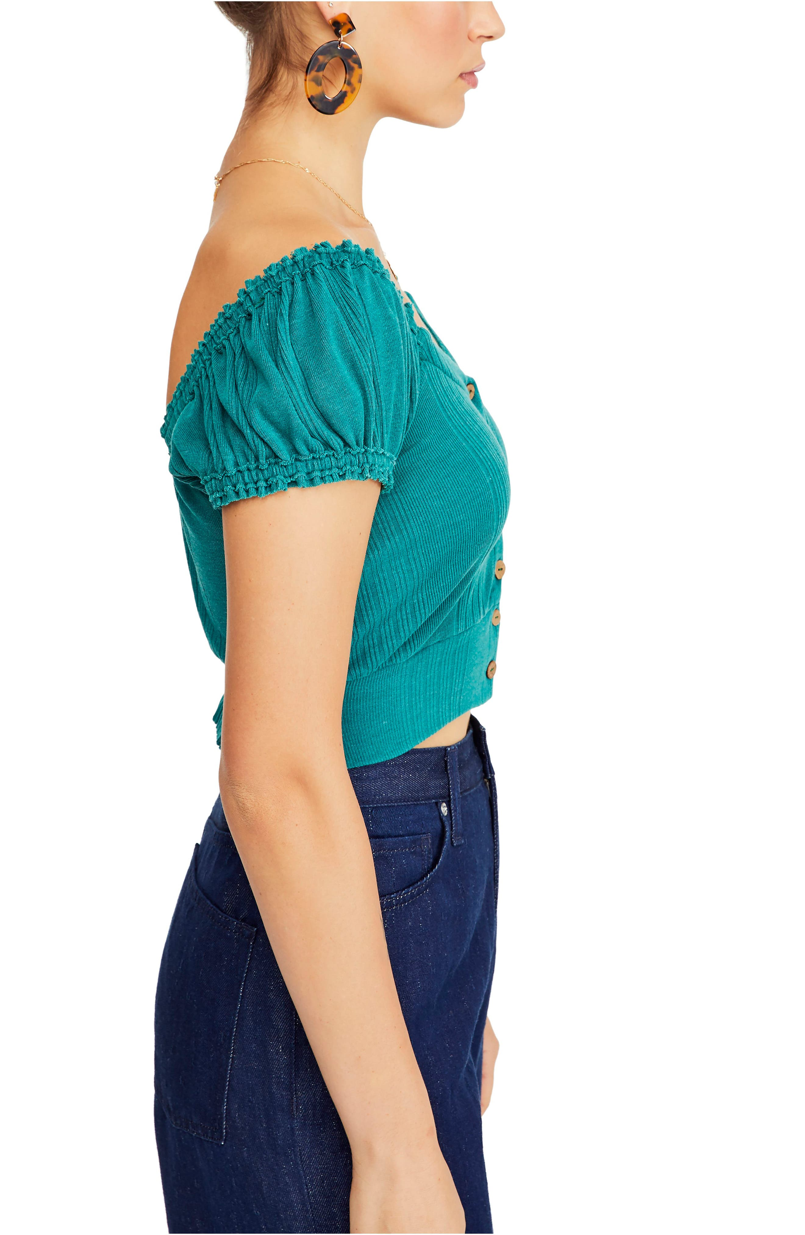 FREE PEOPLE,                             Brighter Days Top,                             Alternate thumbnail 3, color,                             GREEN