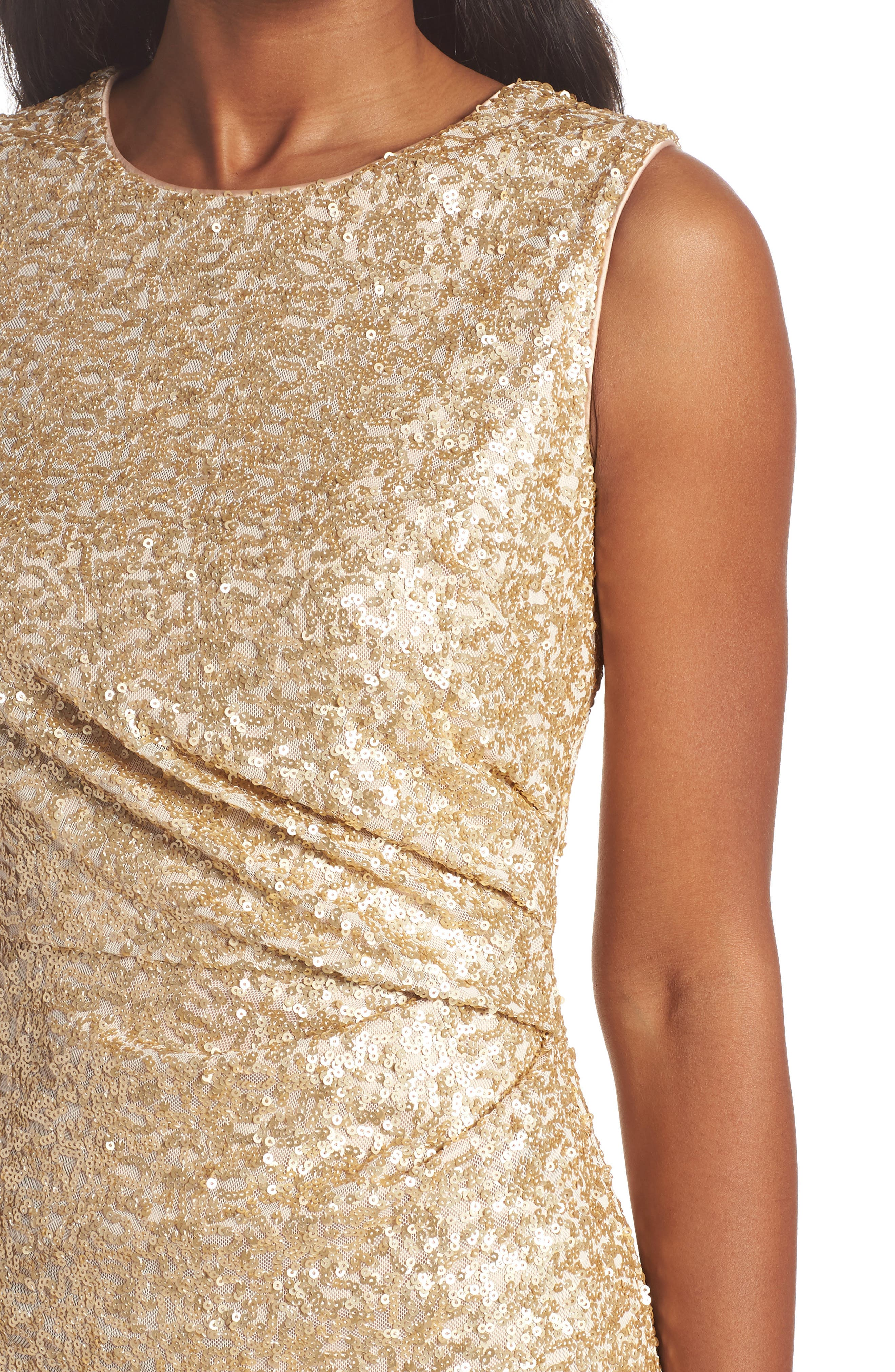 Sequin Ruffle Hem Sheath Dress,                             Alternate thumbnail 4, color,                             710