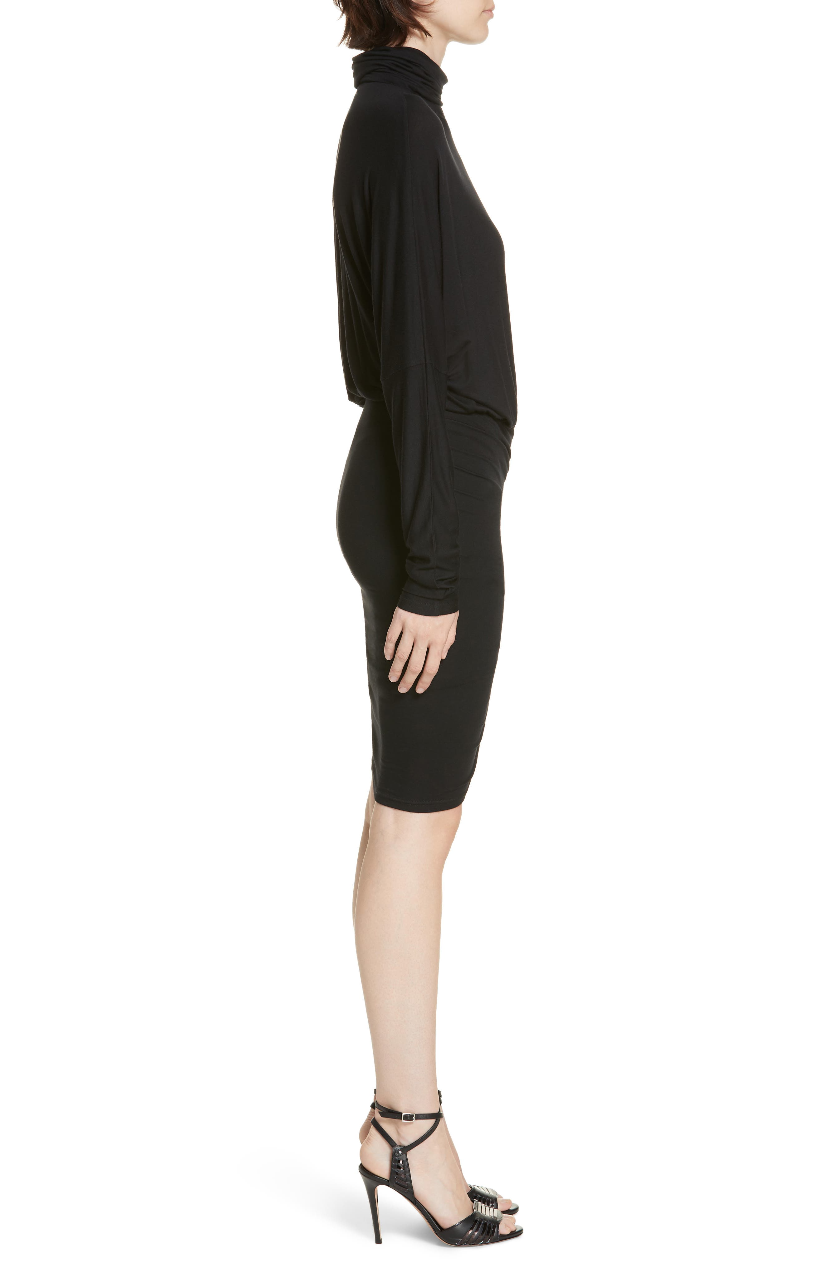 Manda Ruched Dress,                             Alternate thumbnail 3, color,                             BLACK