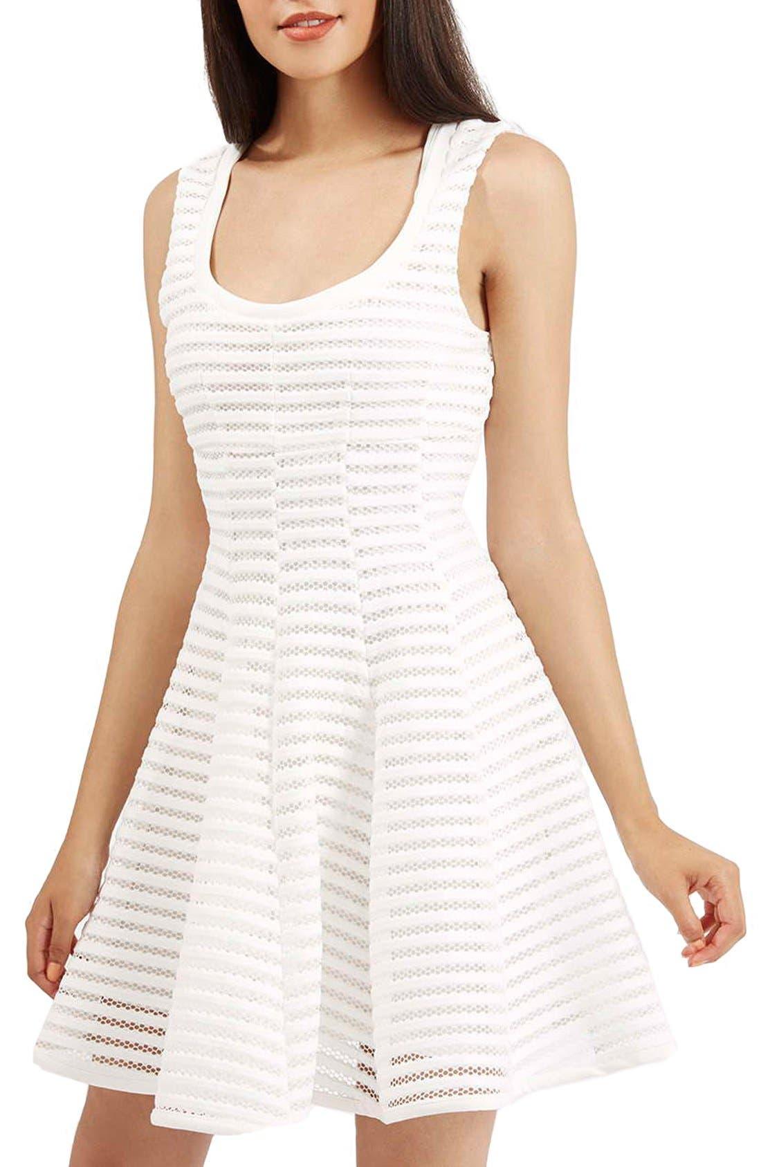 TOPSHOP 'Ozoi' StripeMesh Skater Dress, Main, color, 100