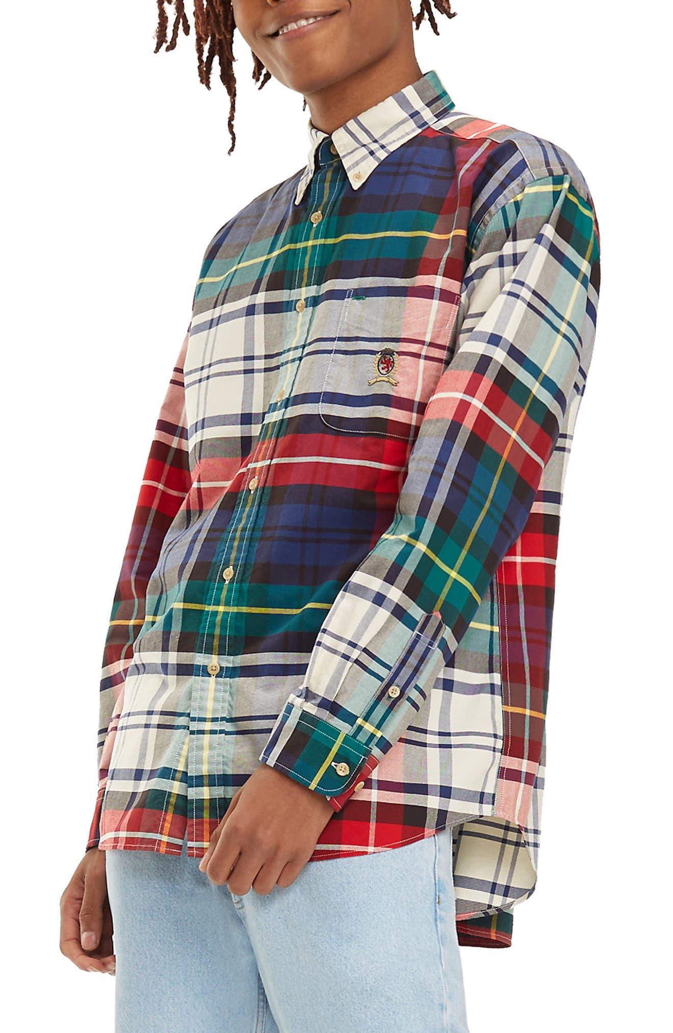 TJM Plaid Crest Sport Shirt,                             Alternate thumbnail 4, color,                             CHECK DARK SAPPHIRE / MULTI