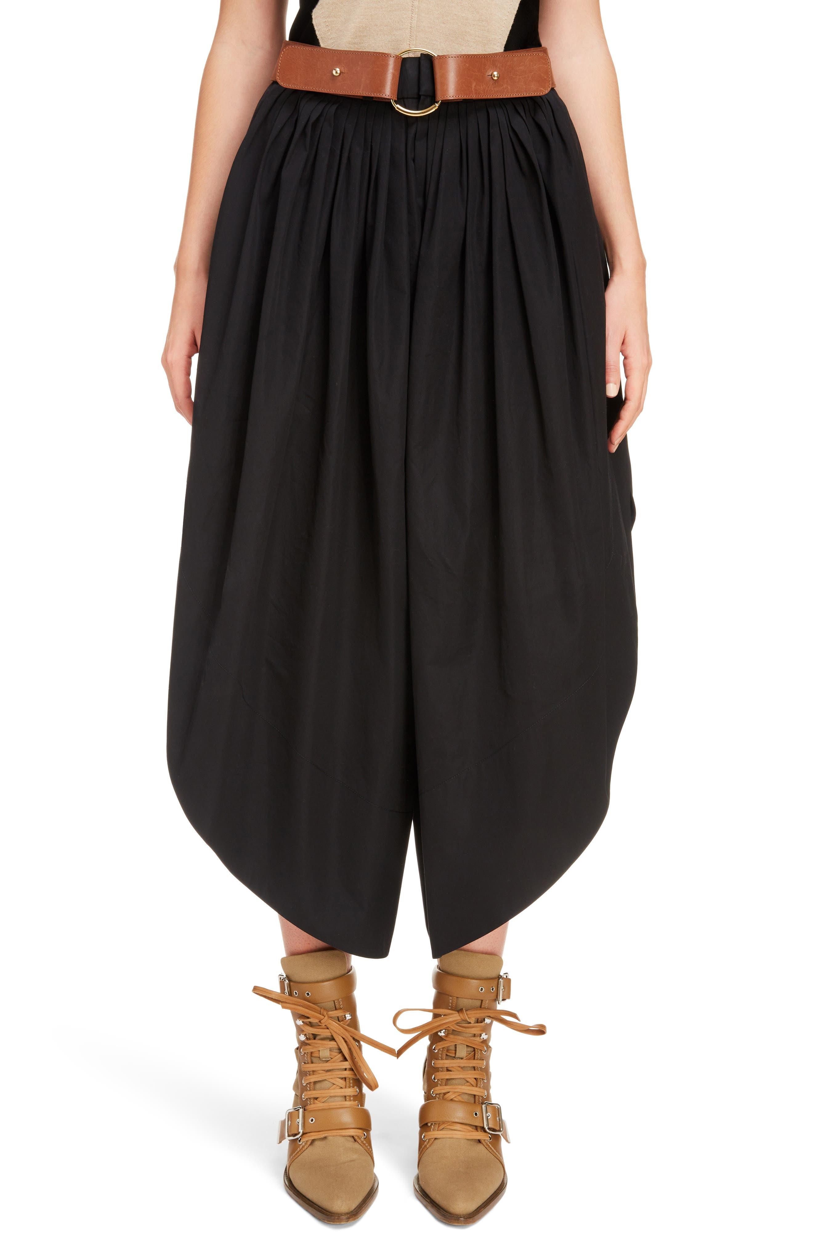 Side Slit Belted Poplin Pants,                             Main thumbnail 1, color,                             BLACK