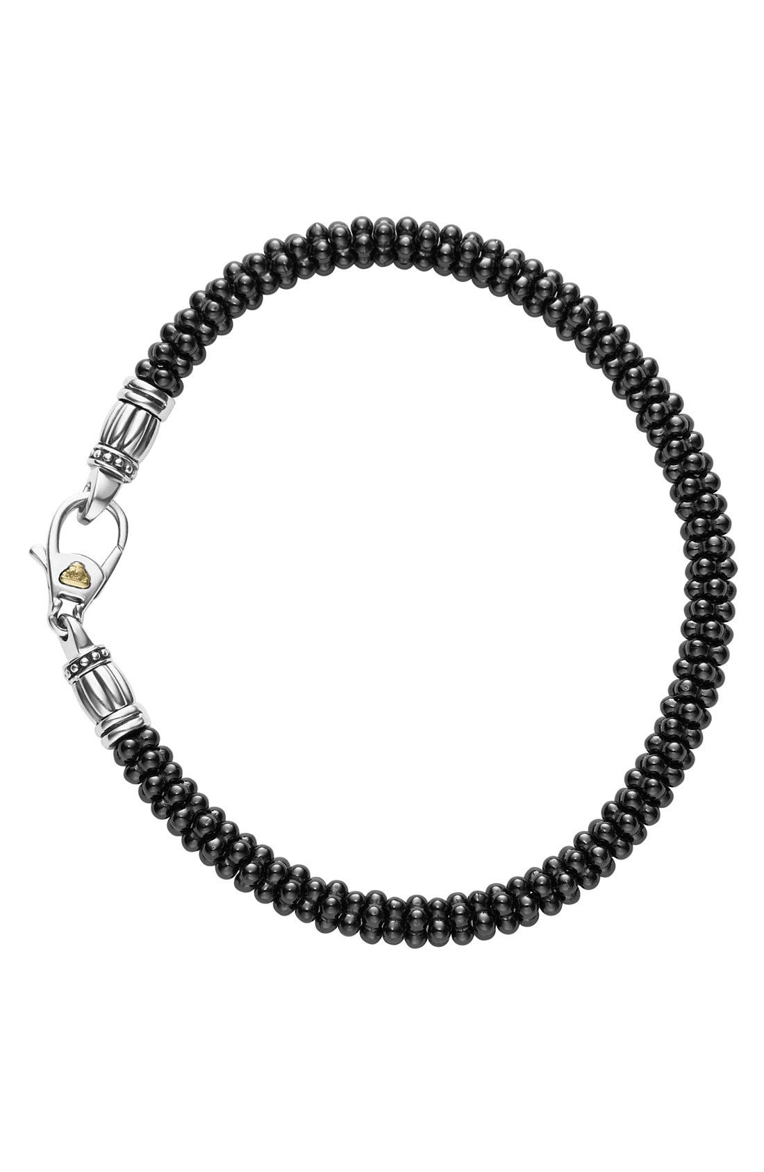 LAGOS,                             'Black & White Caviar' Bracelet,                             Alternate thumbnail 3, color,                             BLACK/ GOLD
