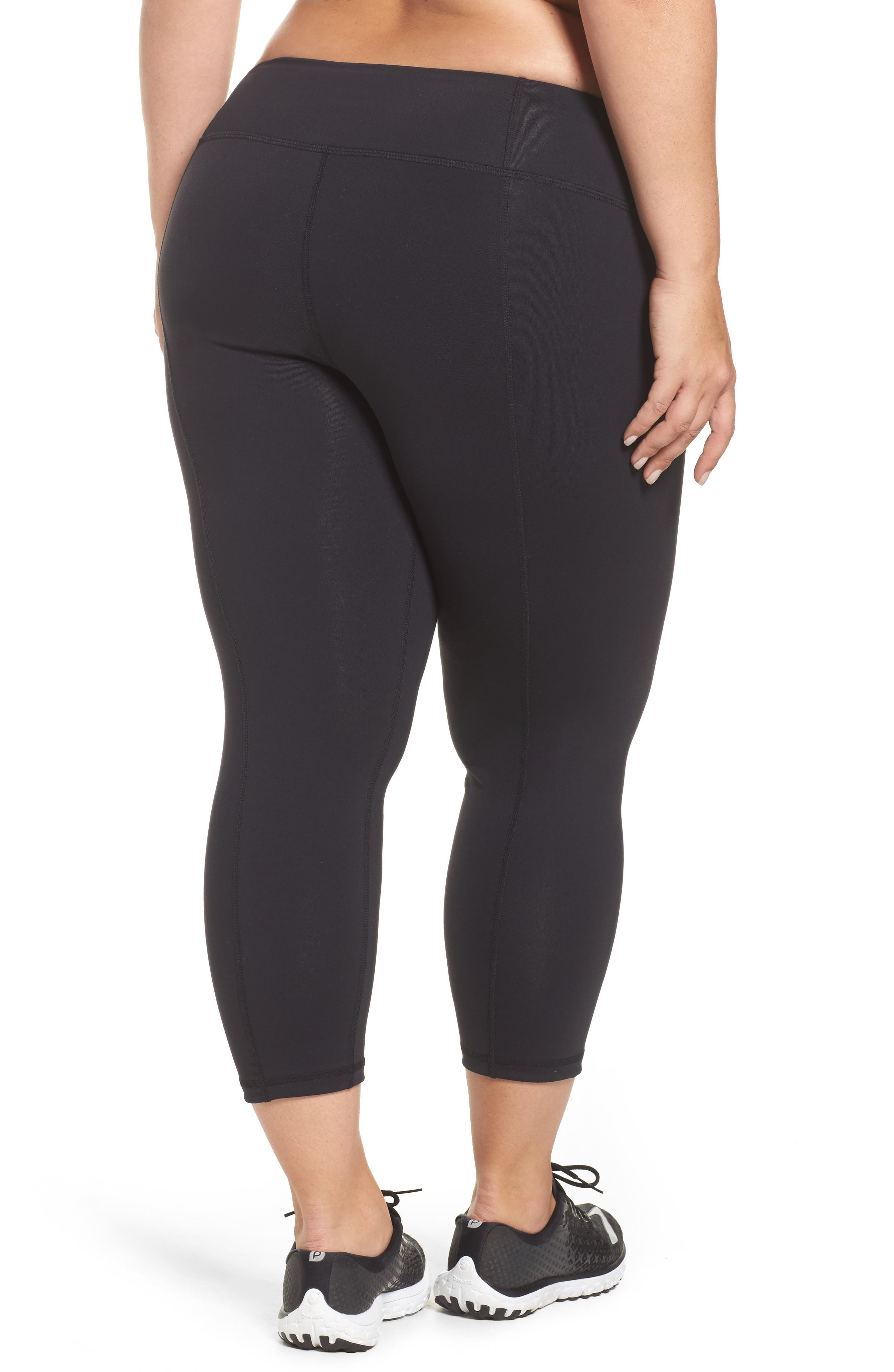Crop Leggings,                             Alternate thumbnail 2, color,                             BLACK