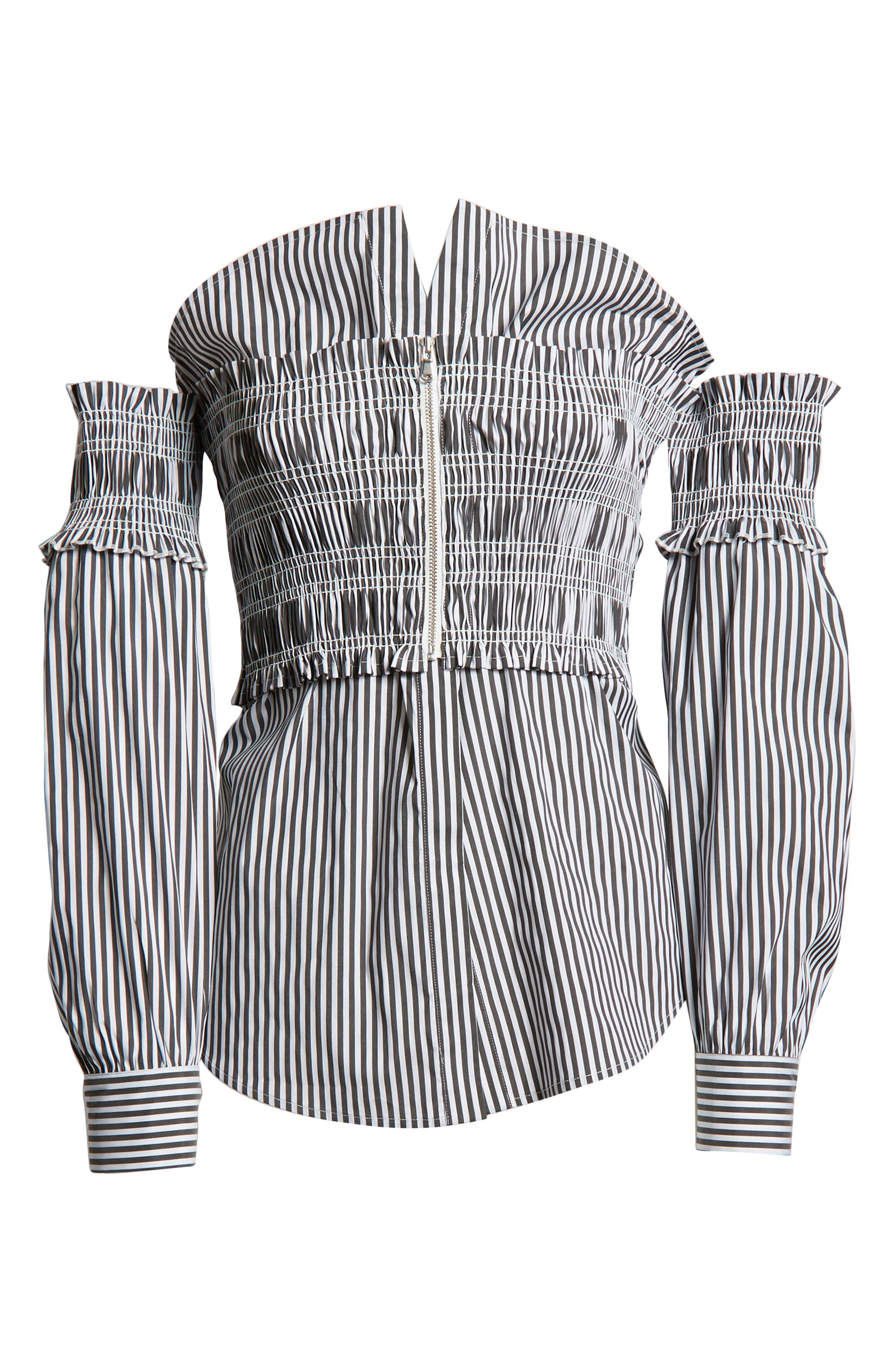 Stripe Smocked Corset Shirt,                             Alternate thumbnail 7, color,                             001