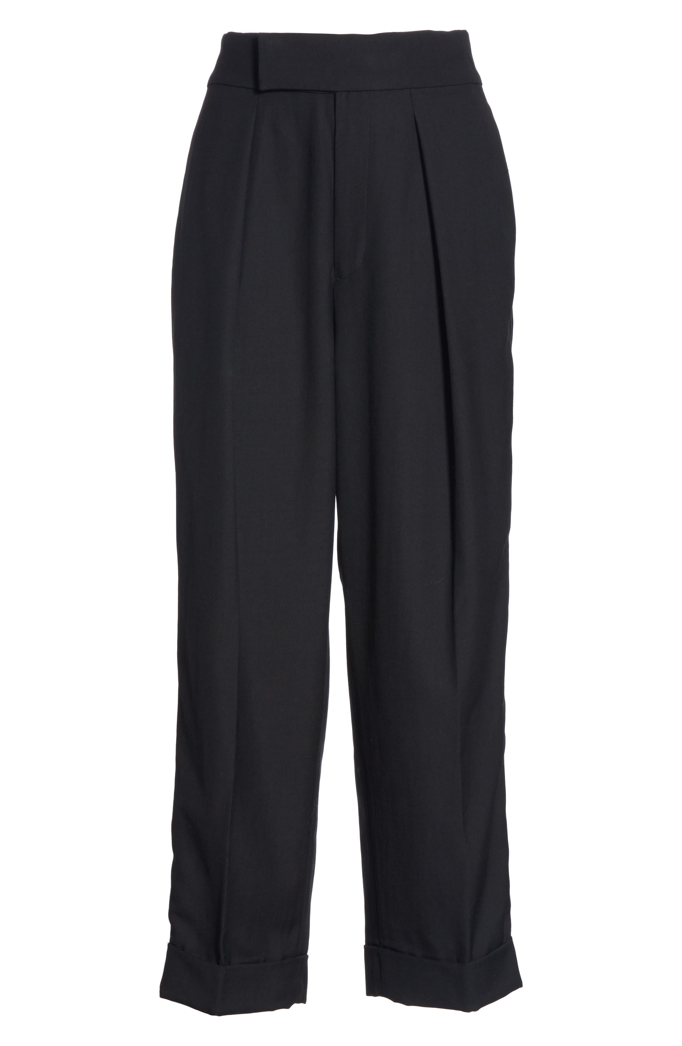Satin Stripe Wool Crop Pants,                             Alternate thumbnail 6, color,                             POLO BLACK