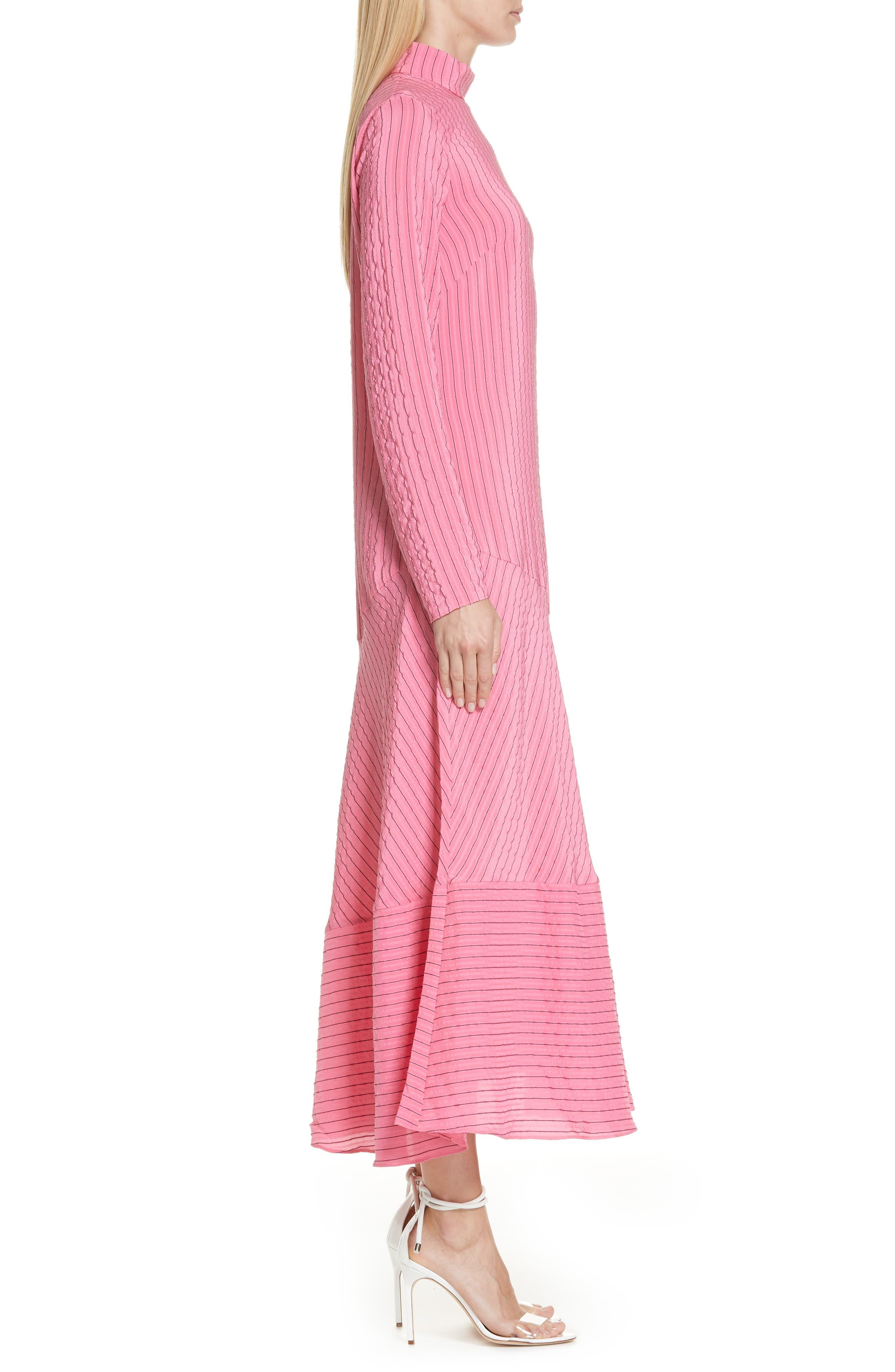 Seersucker Silk Blend Dress,                             Alternate thumbnail 3, color,                             650