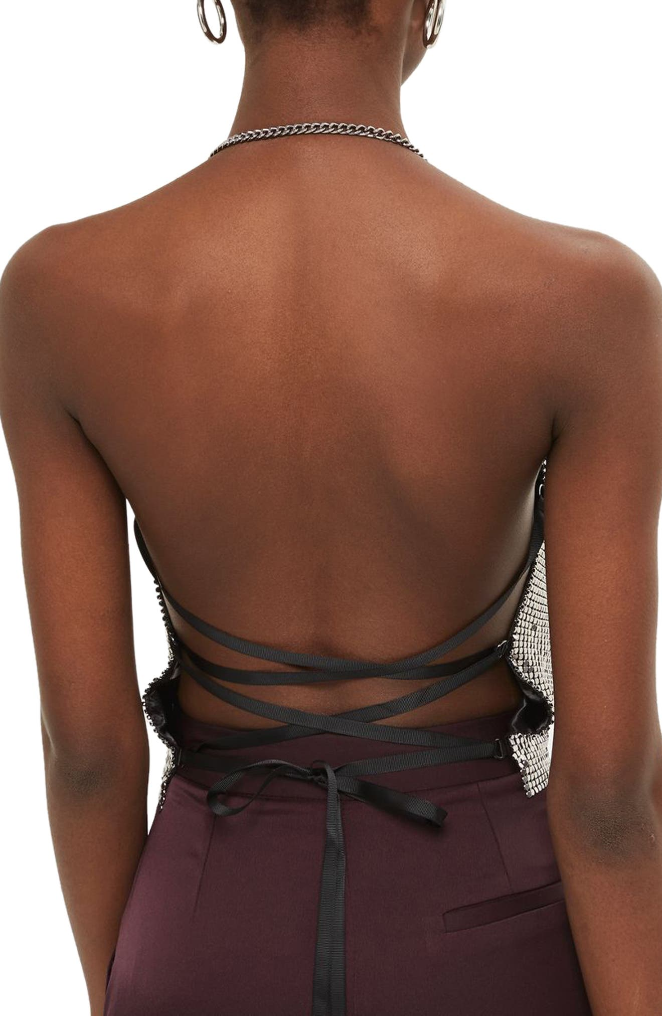 Chain Mail Halter Neck Top,                             Alternate thumbnail 2, color,                             043