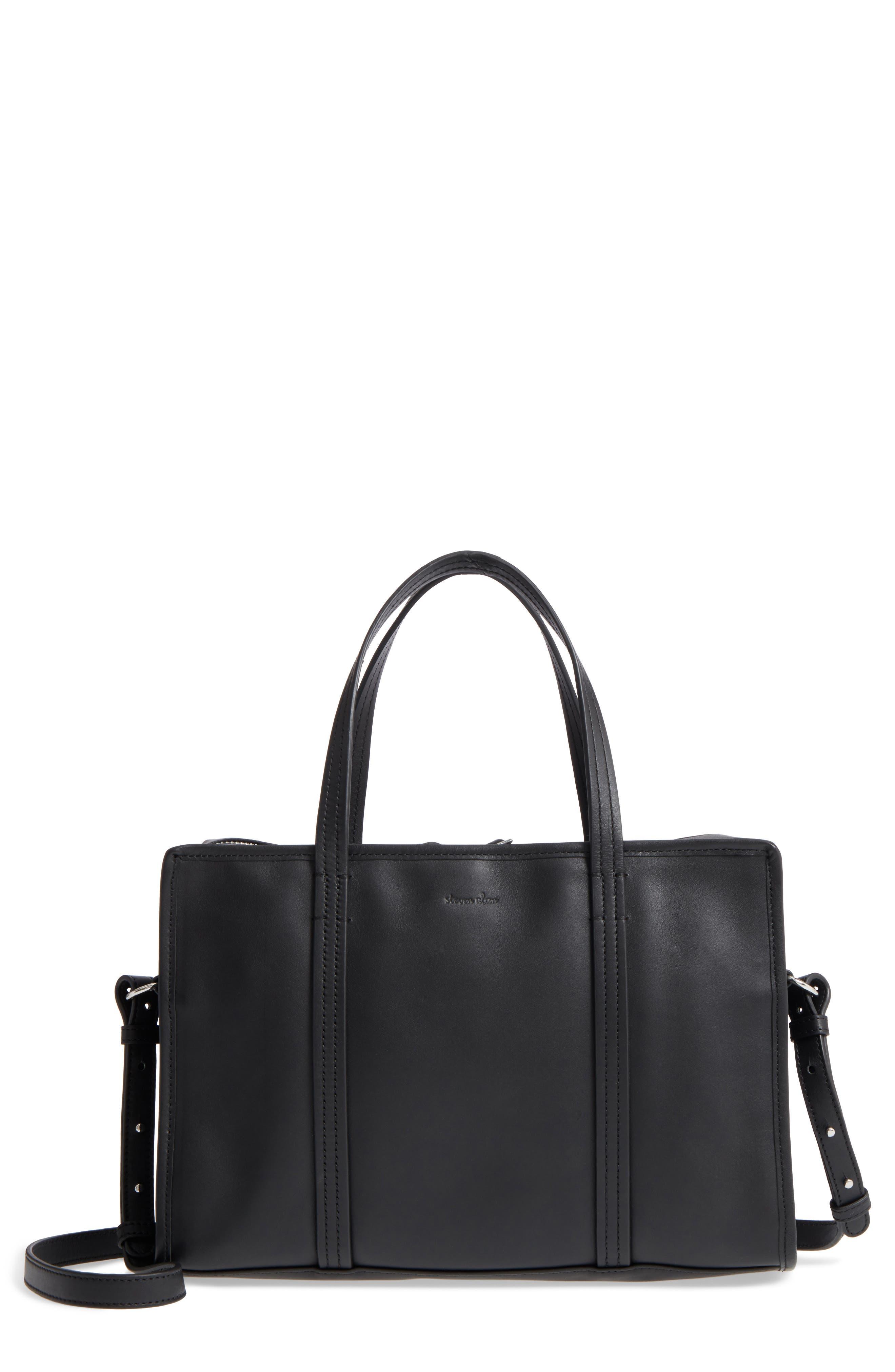 Large Simone Calfskin Leather Satchel,                         Main,                         color, 001