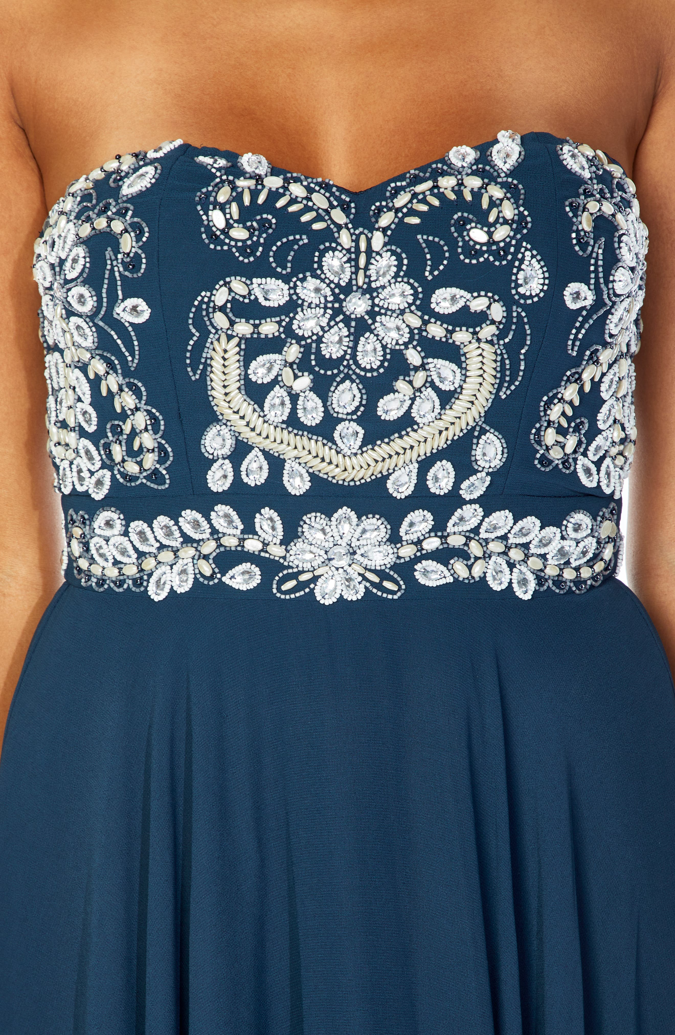 Amelia Strapless Fit & Flare Dress,                             Alternate thumbnail 3, color,                             NAVY