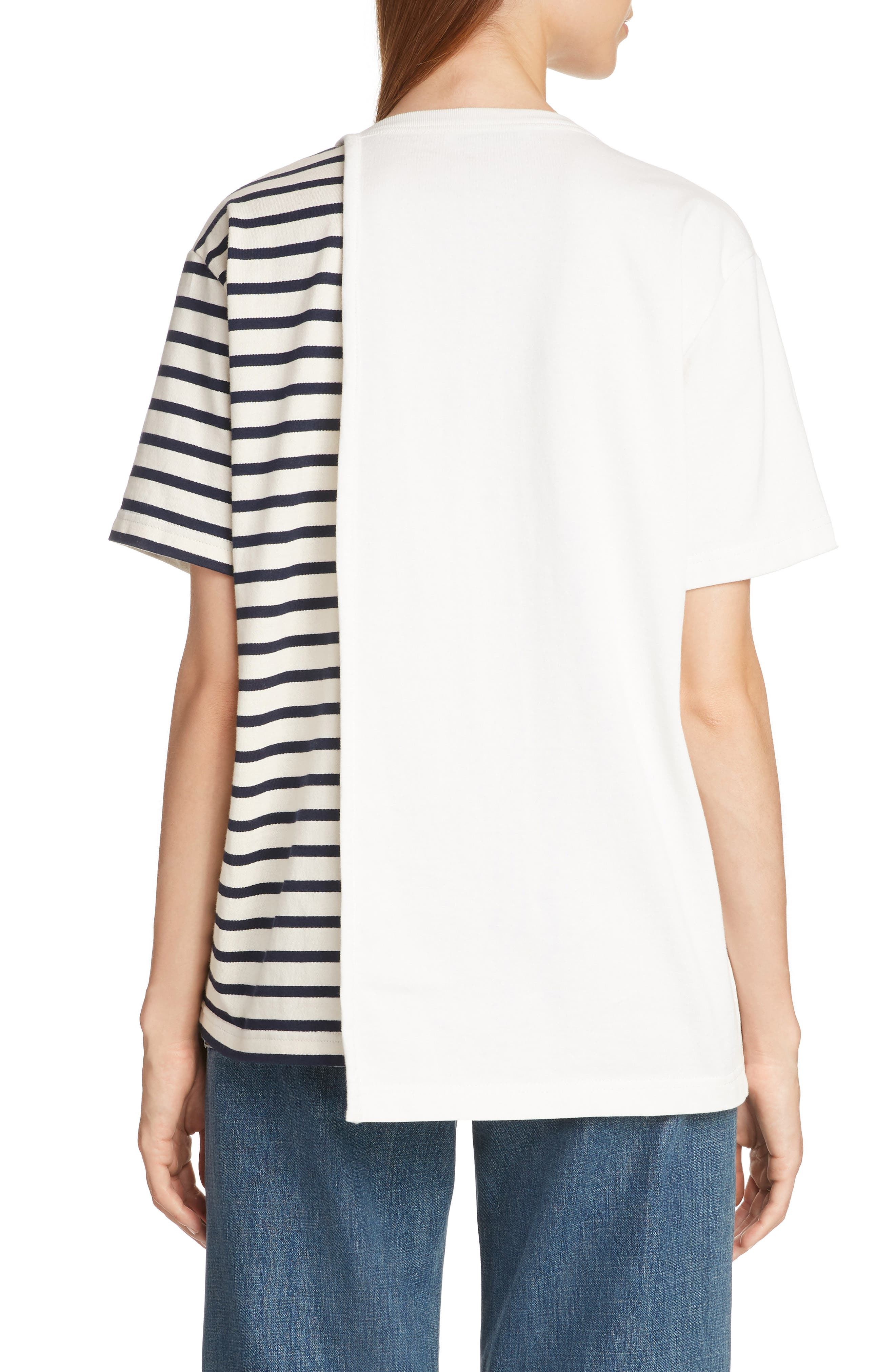 JW ANDERSON,                             Asymmetrical Draped Tee,                             Alternate thumbnail 2, color,                             IVORY