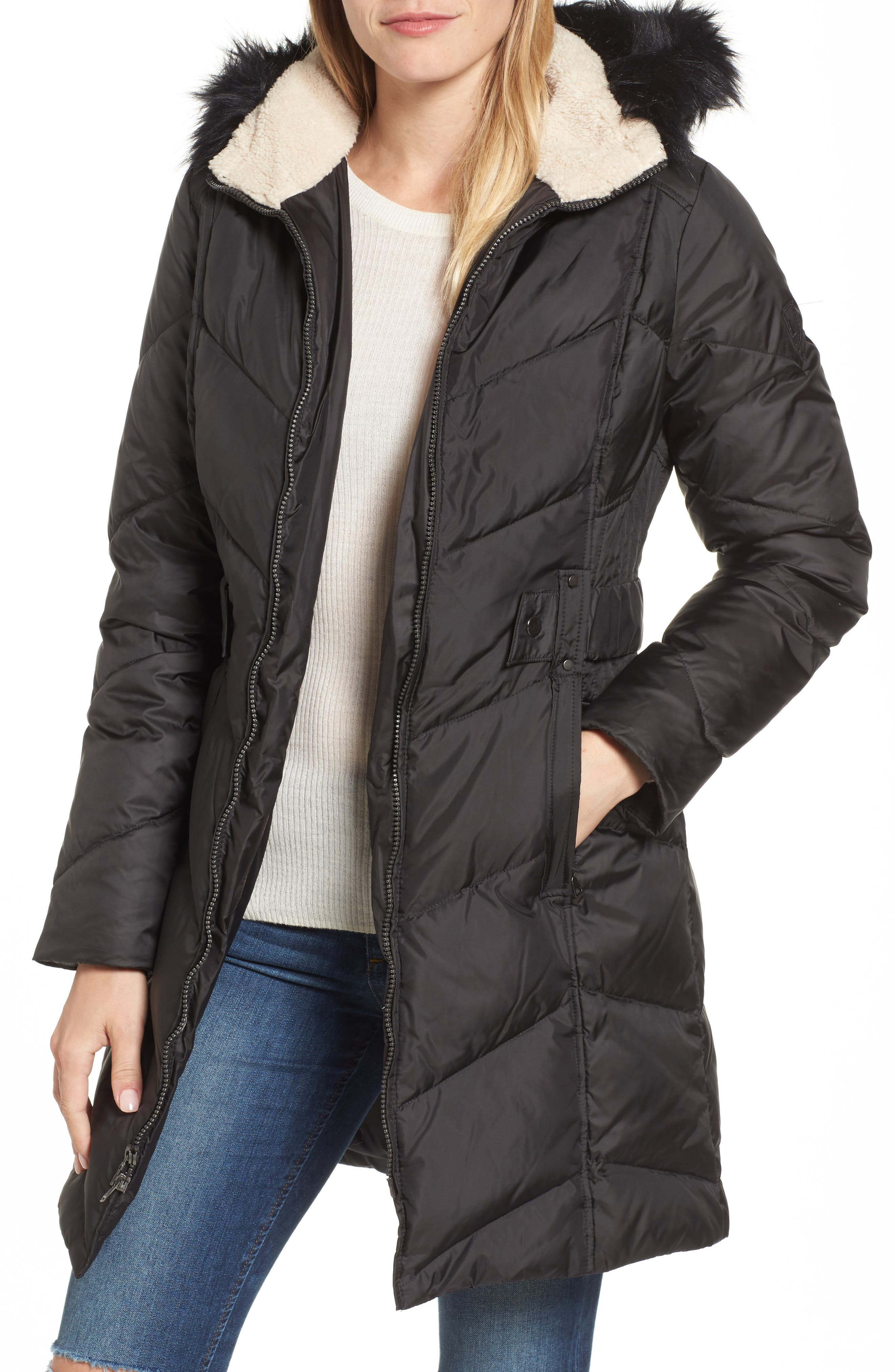 Hooded Down & Feather Fill Jacket with Faux Fur Trim,                         Main,                         color, 001