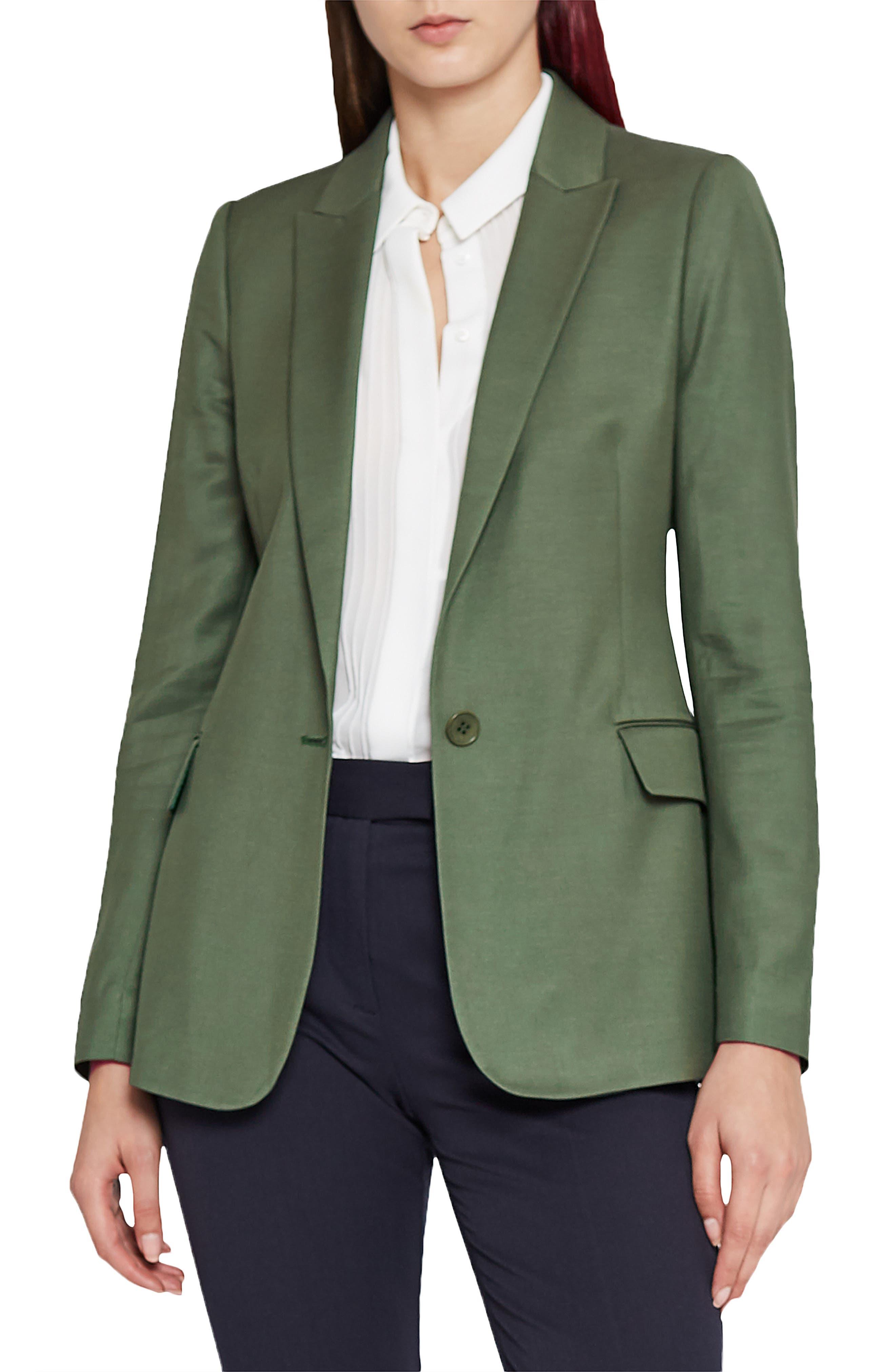 Etta Slim Fit Blazer,                         Main,                         color, GREEN