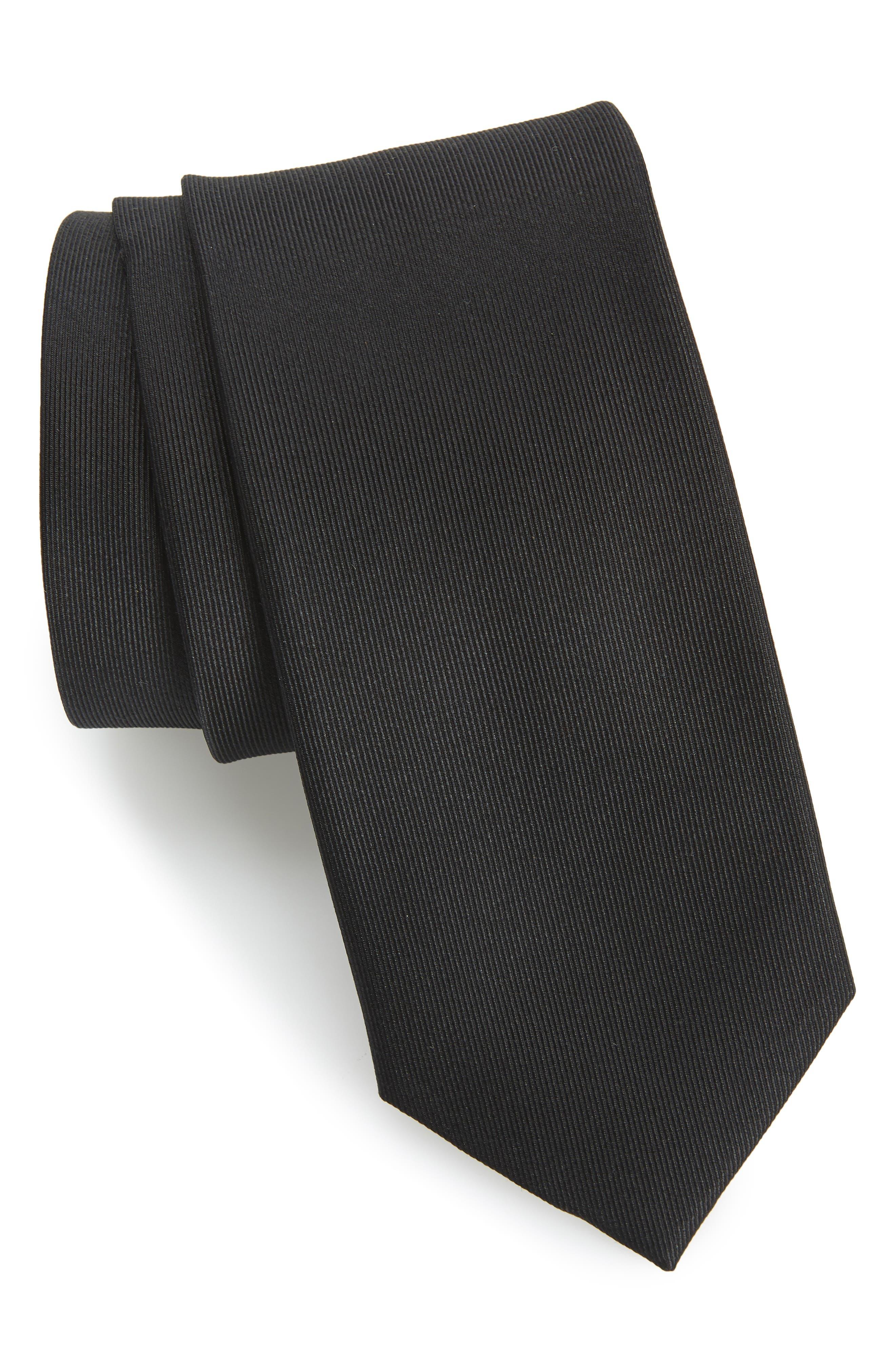 Lucaya Solid Silk Tie,                         Main,                         color, BLACK