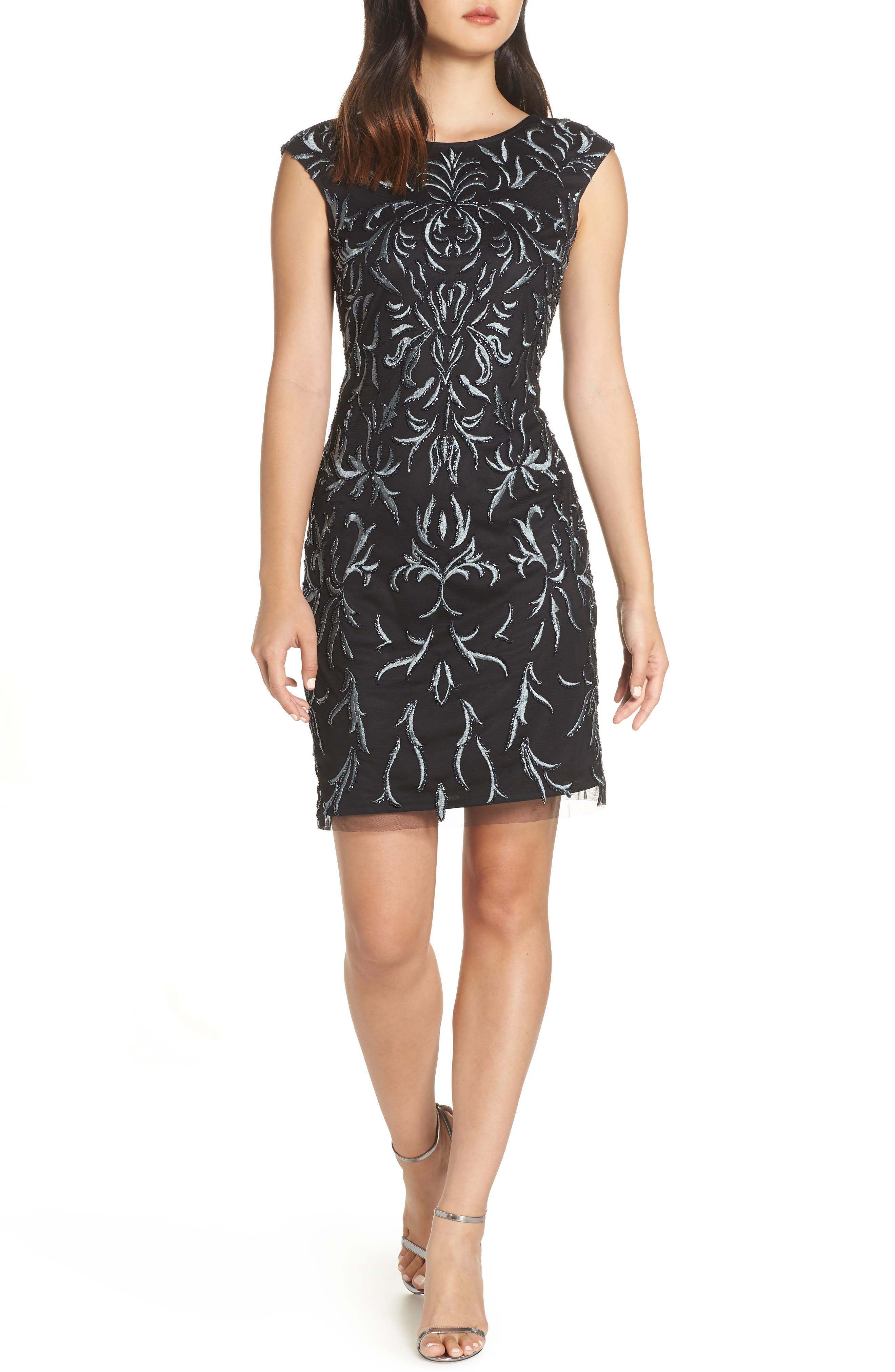 Beaded & Embroidered Cocktail Dress,                         Main,                         color, BLACK