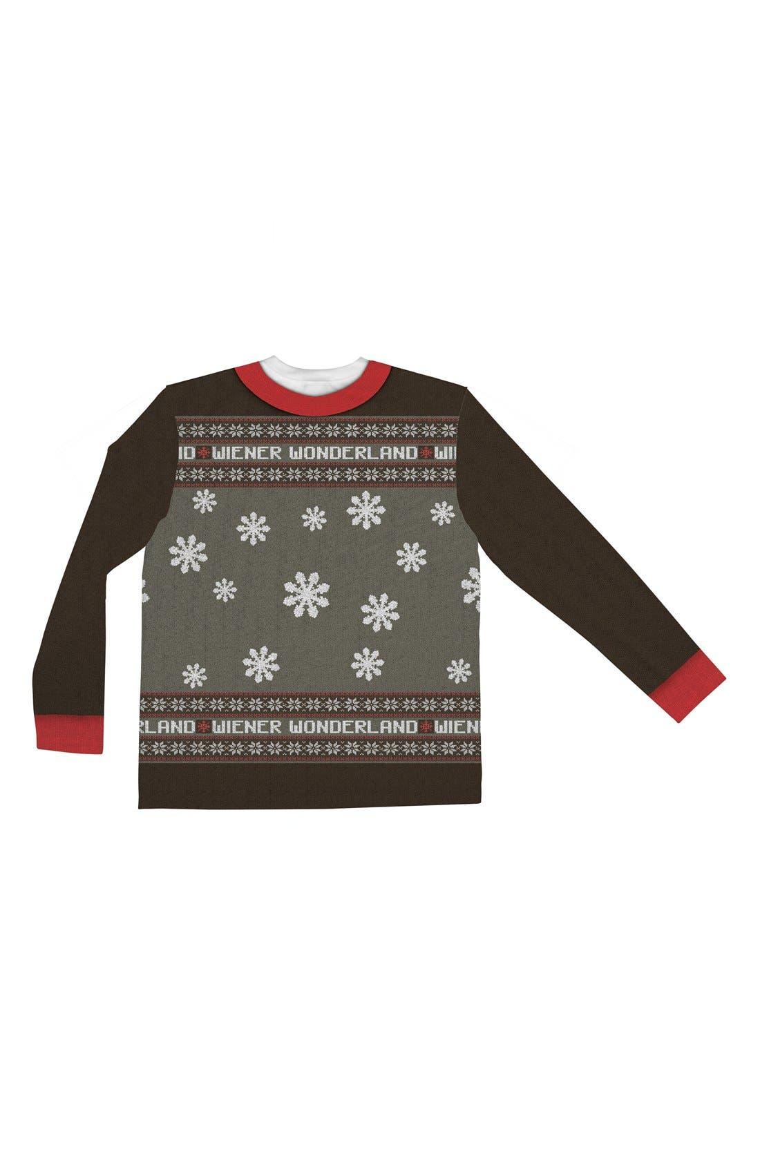FAUX REAL,                             'Wiener Wonderland' Ugly Christmas Long Sleeve Novelty T-Shirt,                             Alternate thumbnail 2, color,                             200