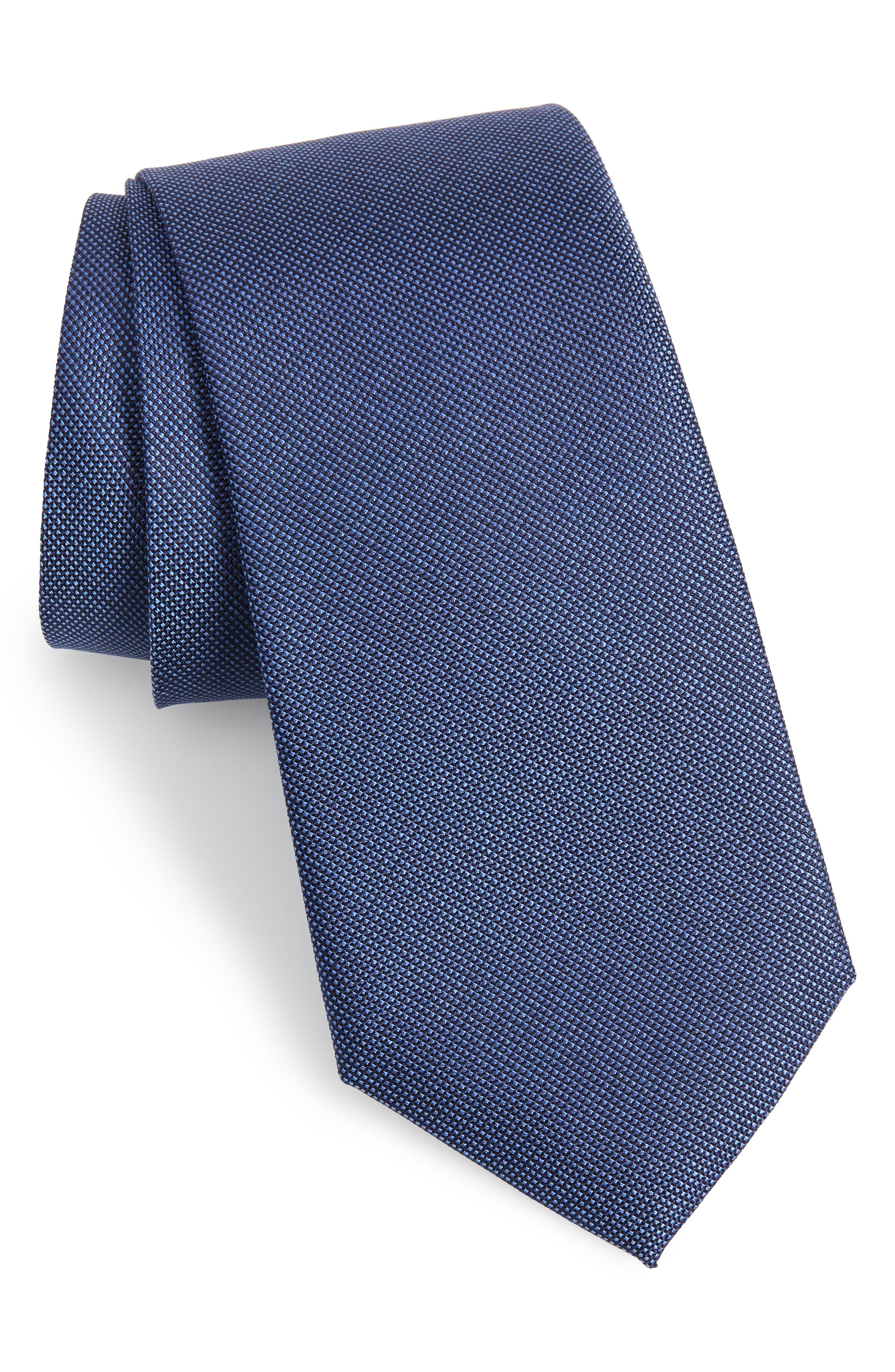 Sargent Solid Silk & Cotton Tie,                             Main thumbnail 1, color,                             NAVY