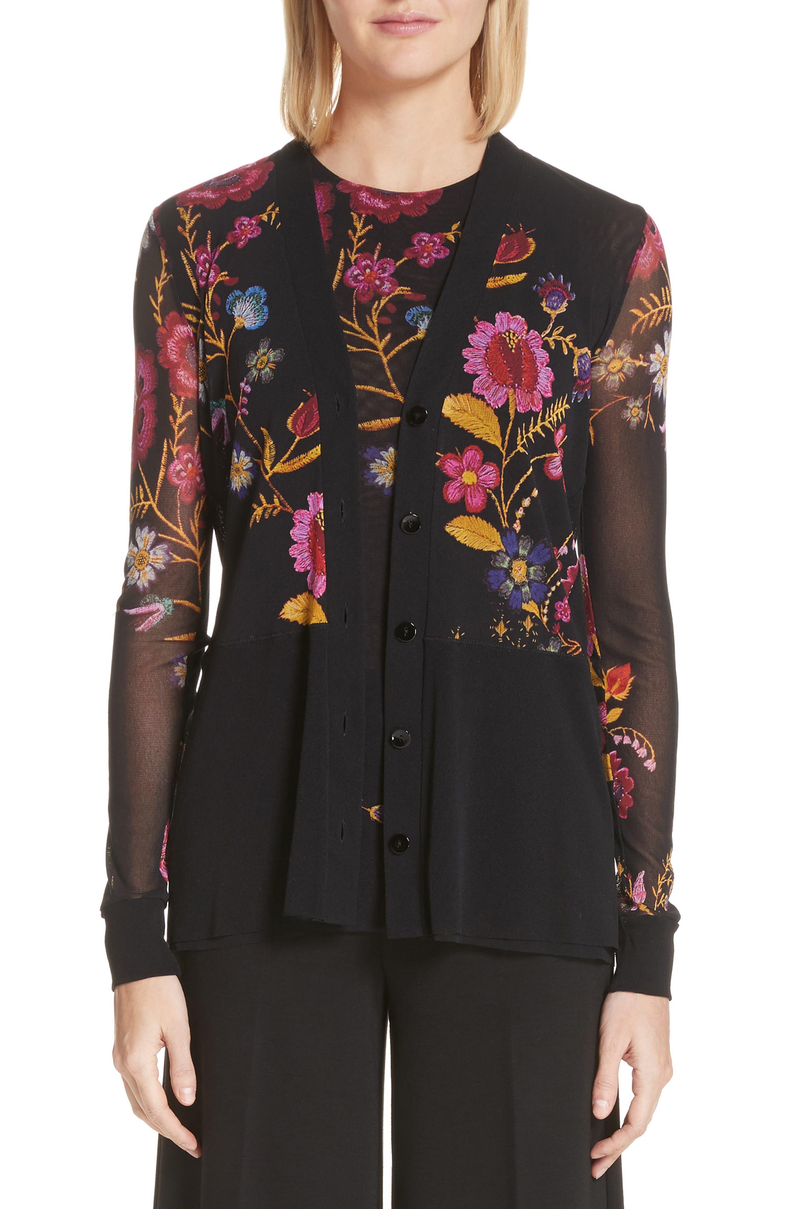 Folk Floral Button Cardigan,                         Main,                         color, 001