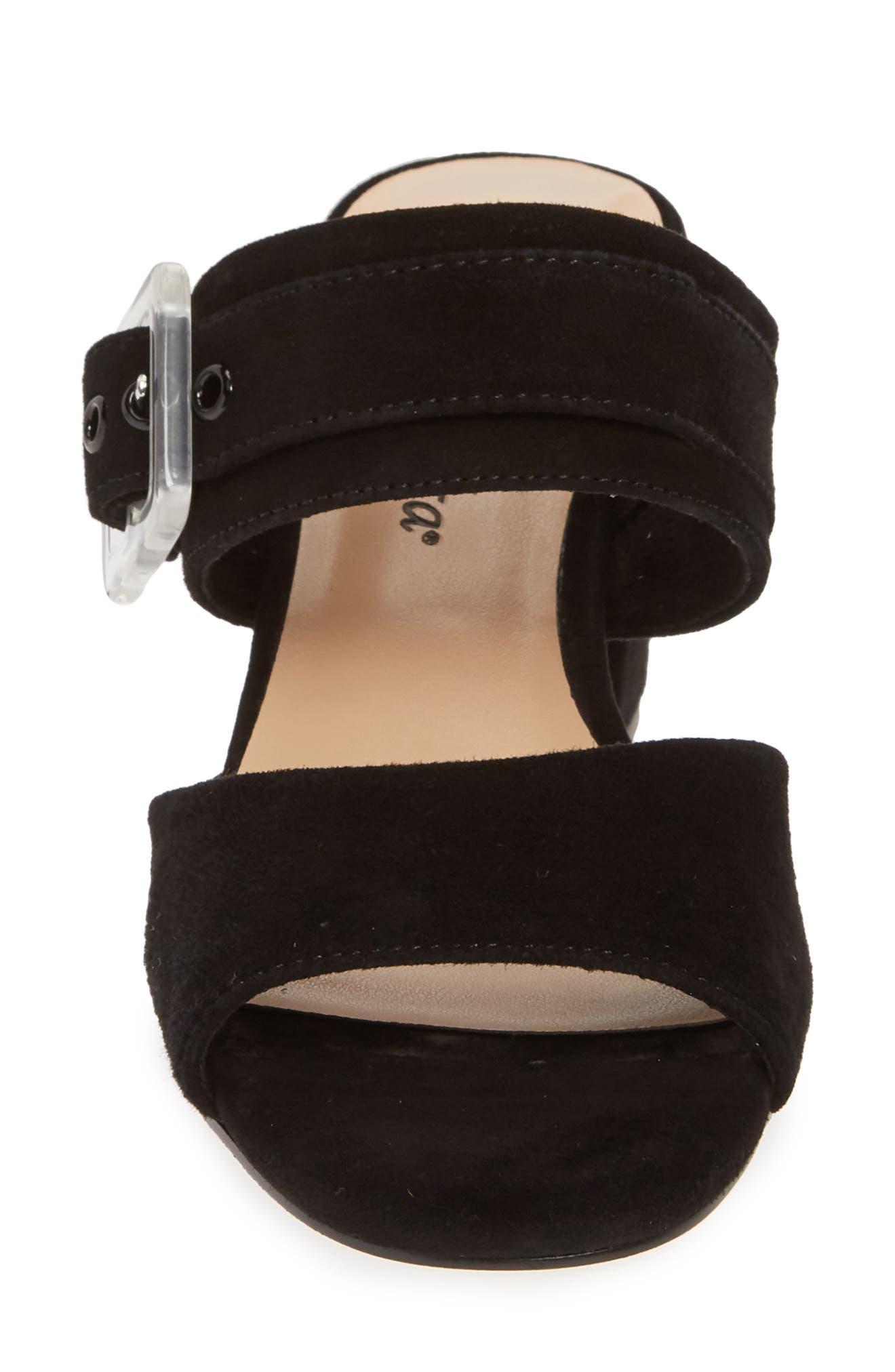 Tory Buckle Slide Sandal,                             Alternate thumbnail 4, color,                             BLACK SUEDE