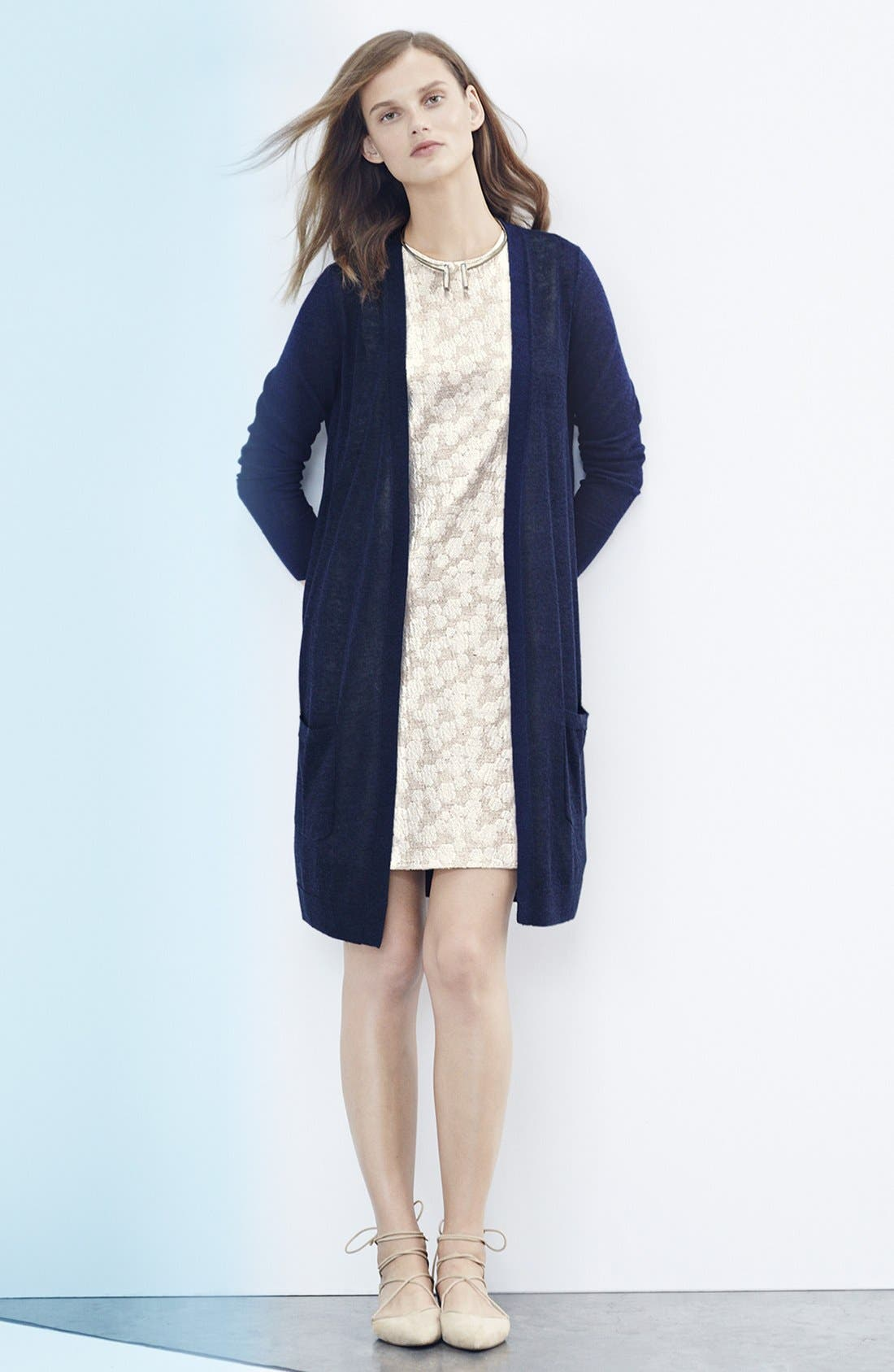 HALOGEN<SUP>®</SUP>, Long Linen Blend Cardigan, Alternate thumbnail 10, color, BLUE MAZARINE