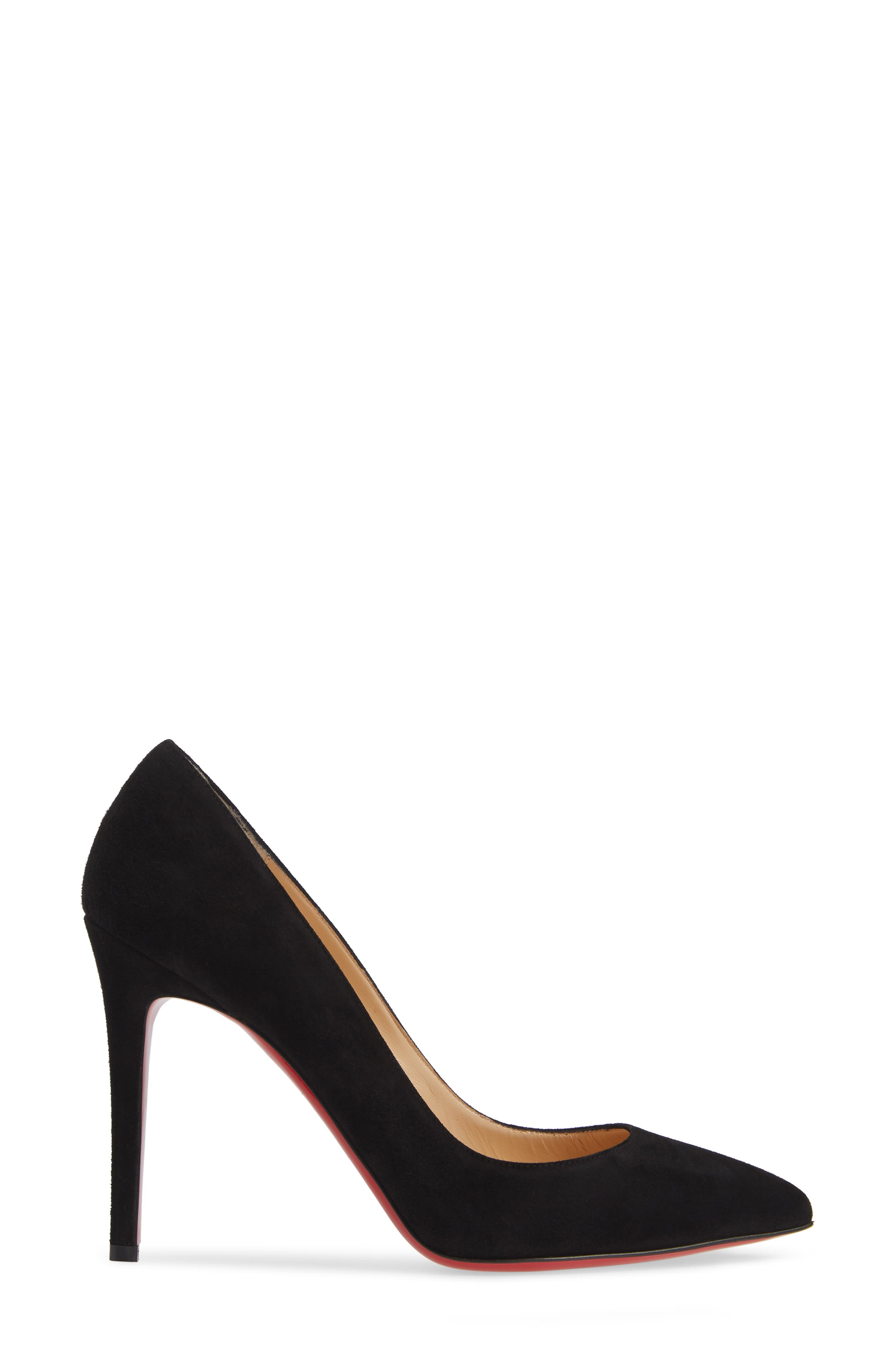 CHRISTIAN LOUBOUTIN,                             Pigalle Pointy Toe Pump,                             Alternate thumbnail 3, color,                             BLACK SUEDE
