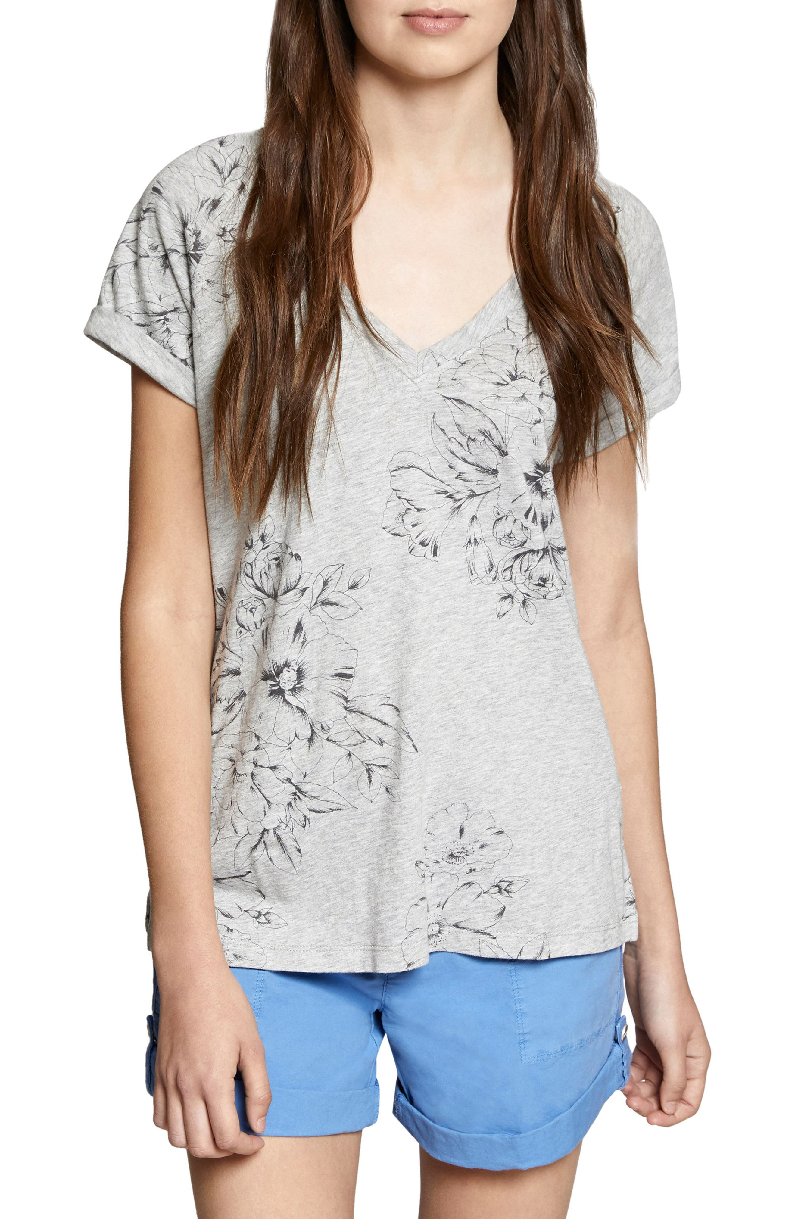 Hibiscus V-Neck Tee,                             Main thumbnail 1, color,