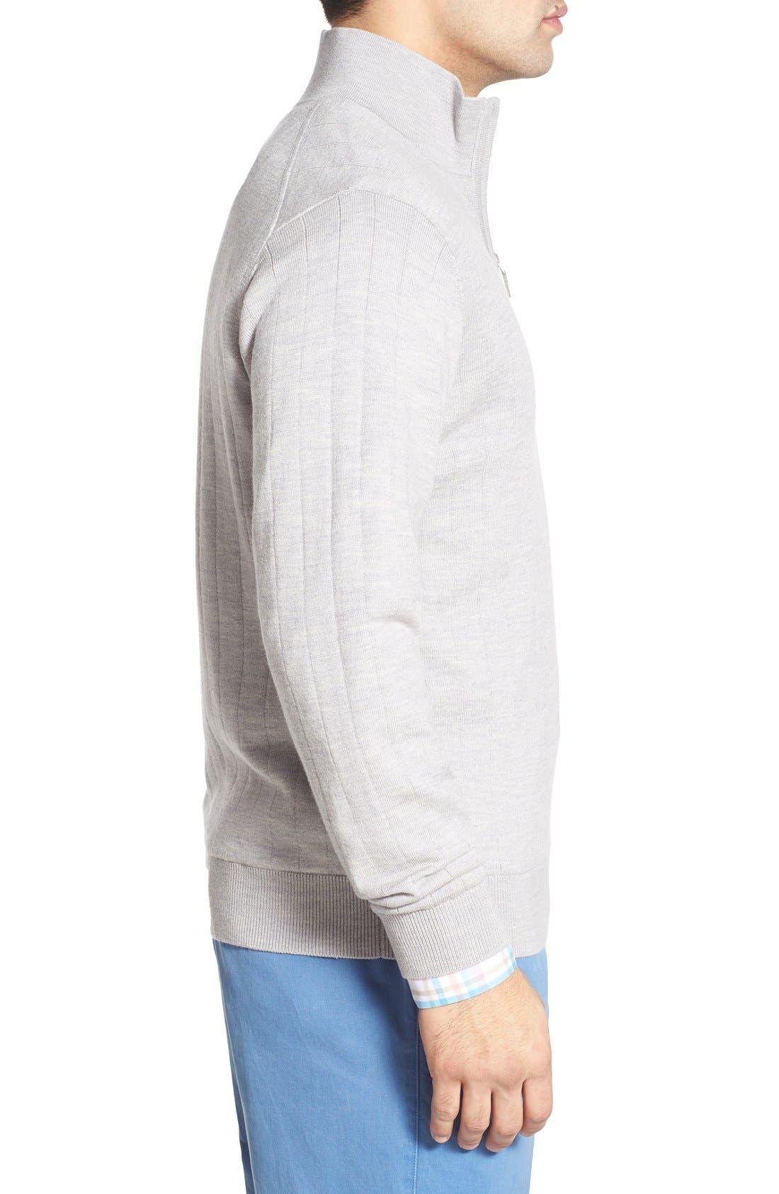 Windproof Merino Wool Quarter Zip Sweater,                             Alternate thumbnail 3, color,                             HEATHER GREY