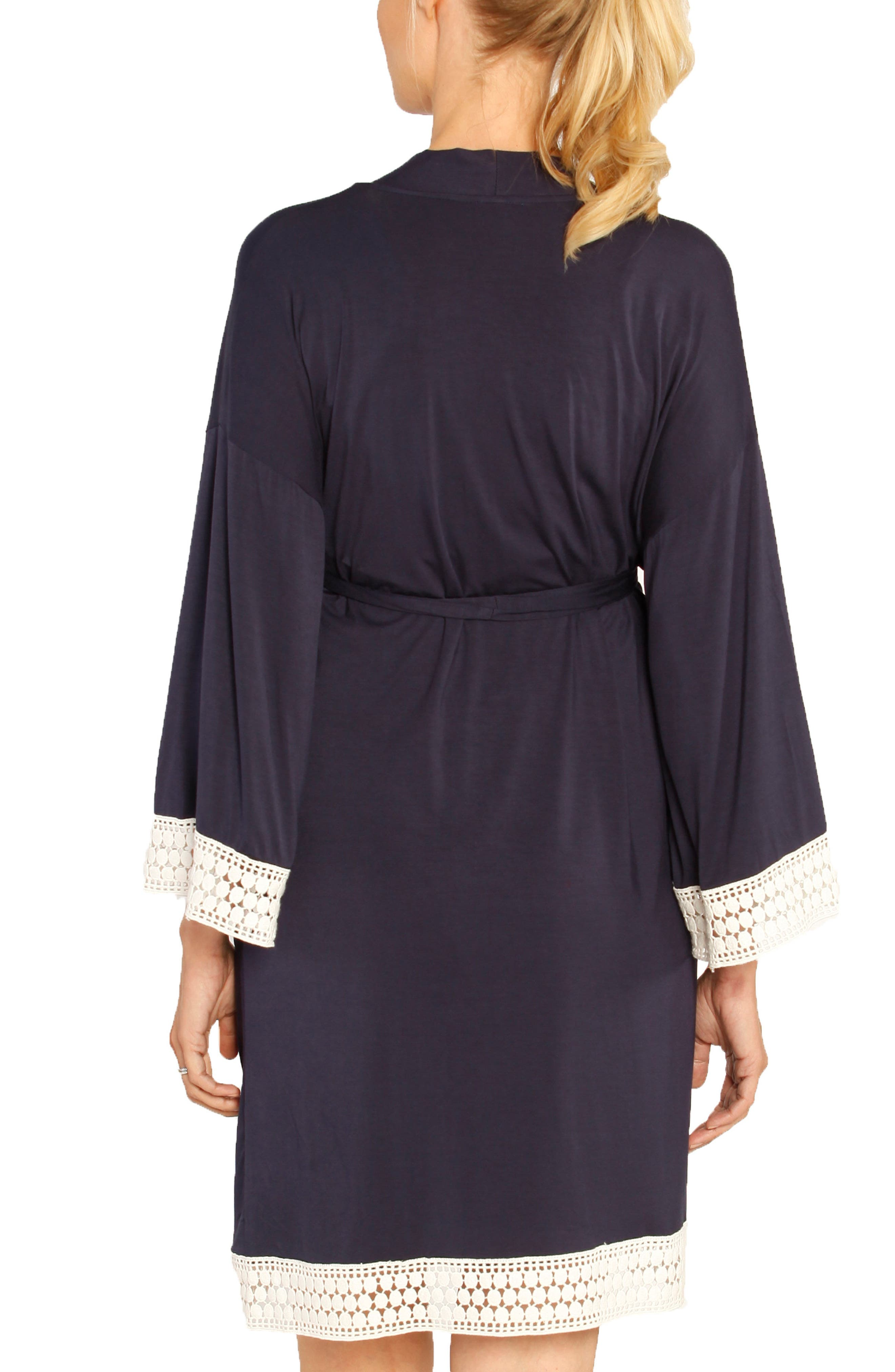 Nursing Dress, Robe & Baby Blanket Pouch Set,                             Alternate thumbnail 2, color,                             NAVY STRIPES