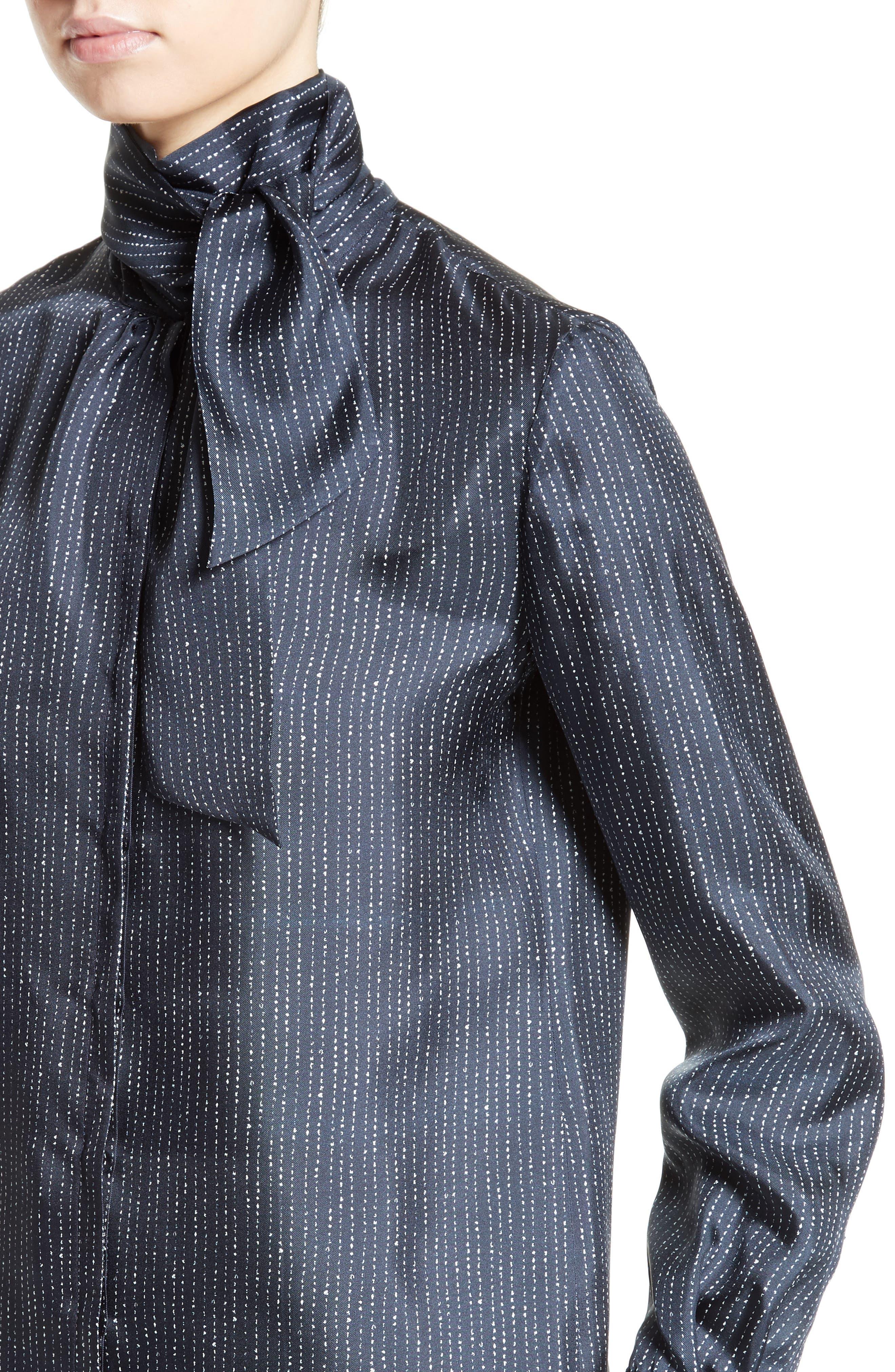 Anzio Silk Tie Neck Tunic,                             Alternate thumbnail 4, color,                             411