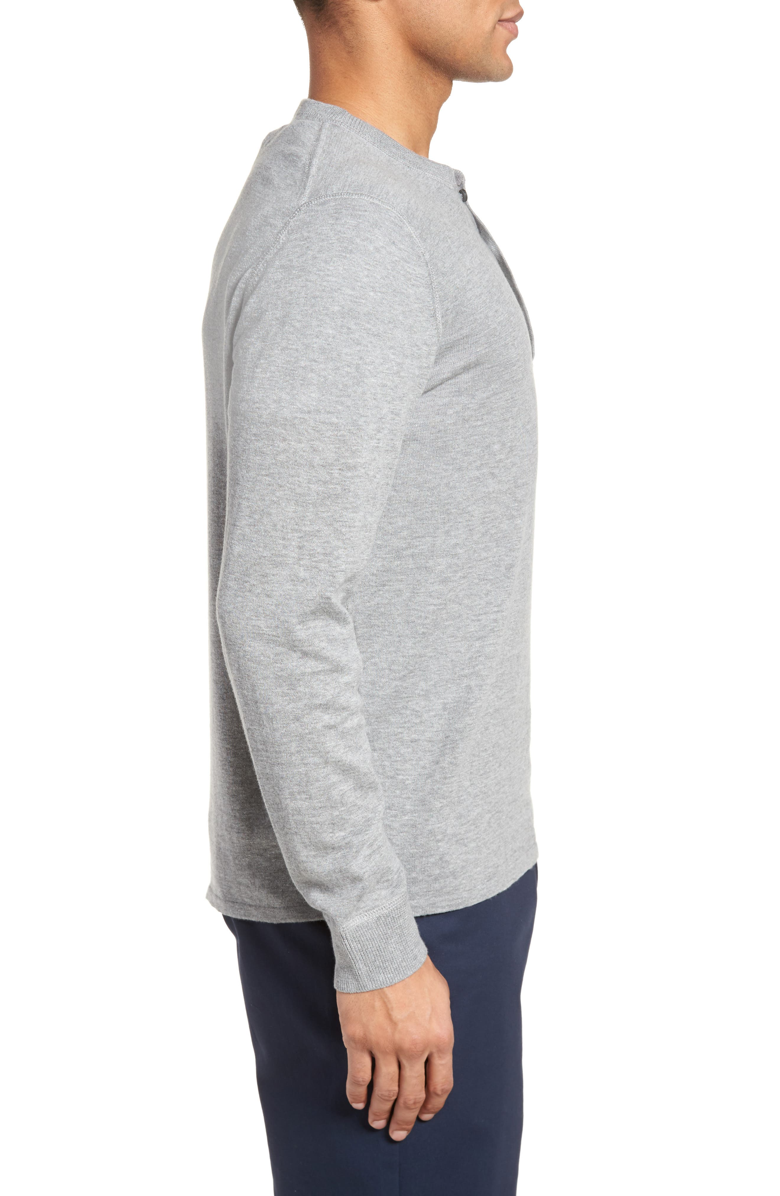 Long Sleeve Cotton & Linen Blend Henley,                             Alternate thumbnail 3, color,                             030
