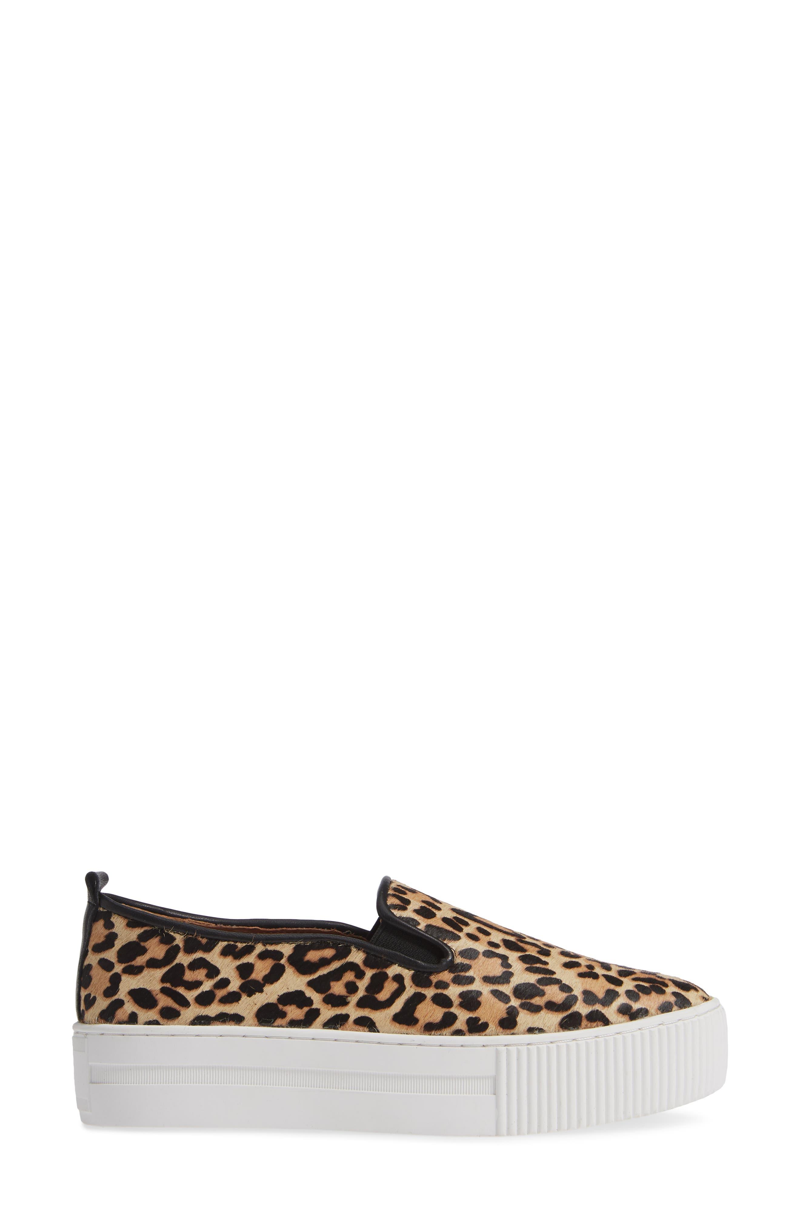 Baylee Platform Slip-On Sneaker,                             Alternate thumbnail 3, color,                             LEOPARD HAIRCALF