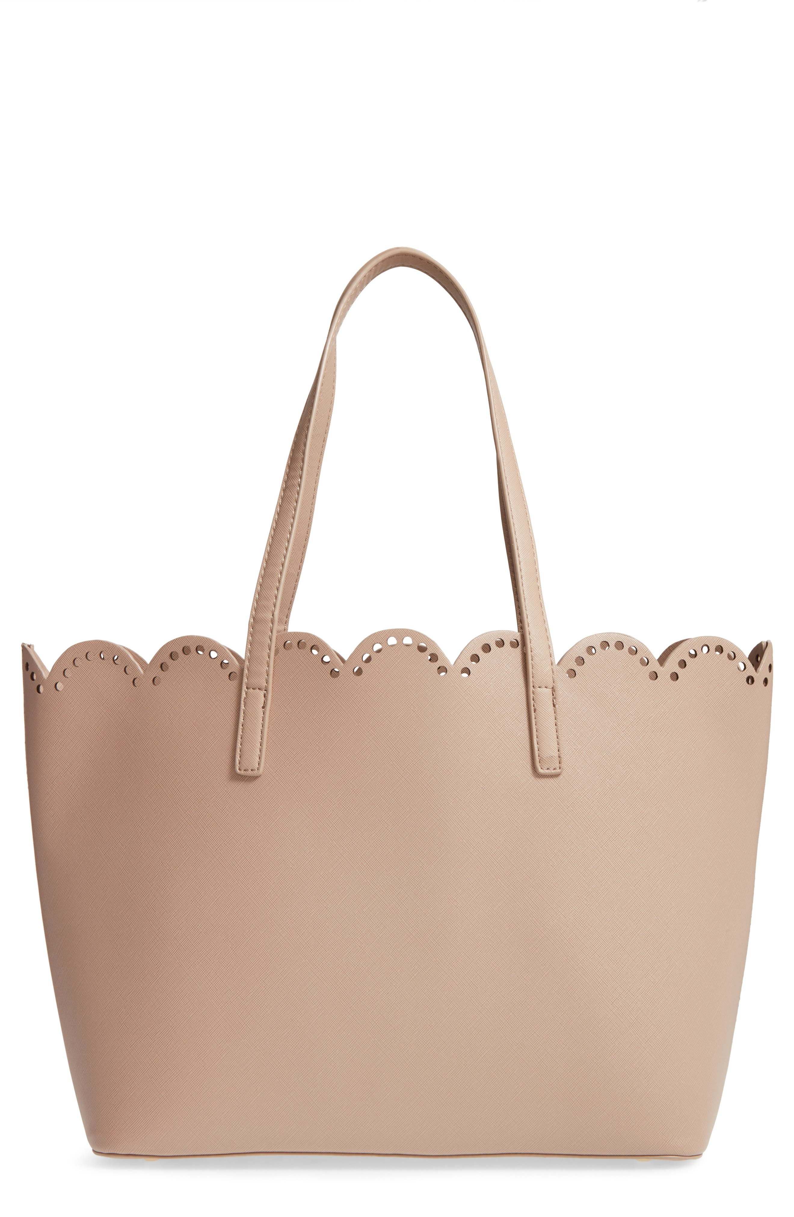 Scalloped Faux Leather Tote,                             Main thumbnail 4, color,