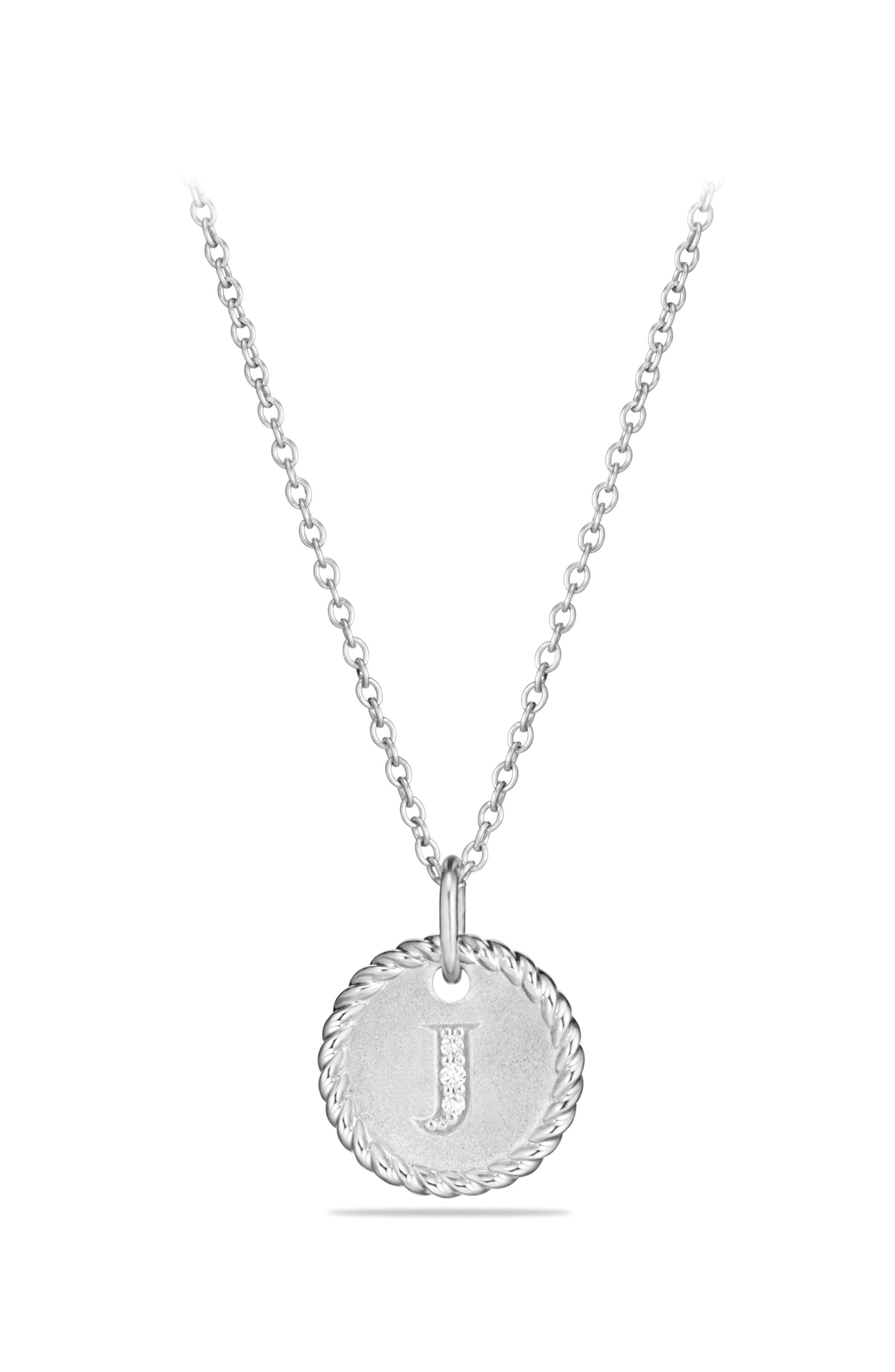 Initial Charm Necklace with Diamonds in 18K White Gold,                         Main,                         color, 040