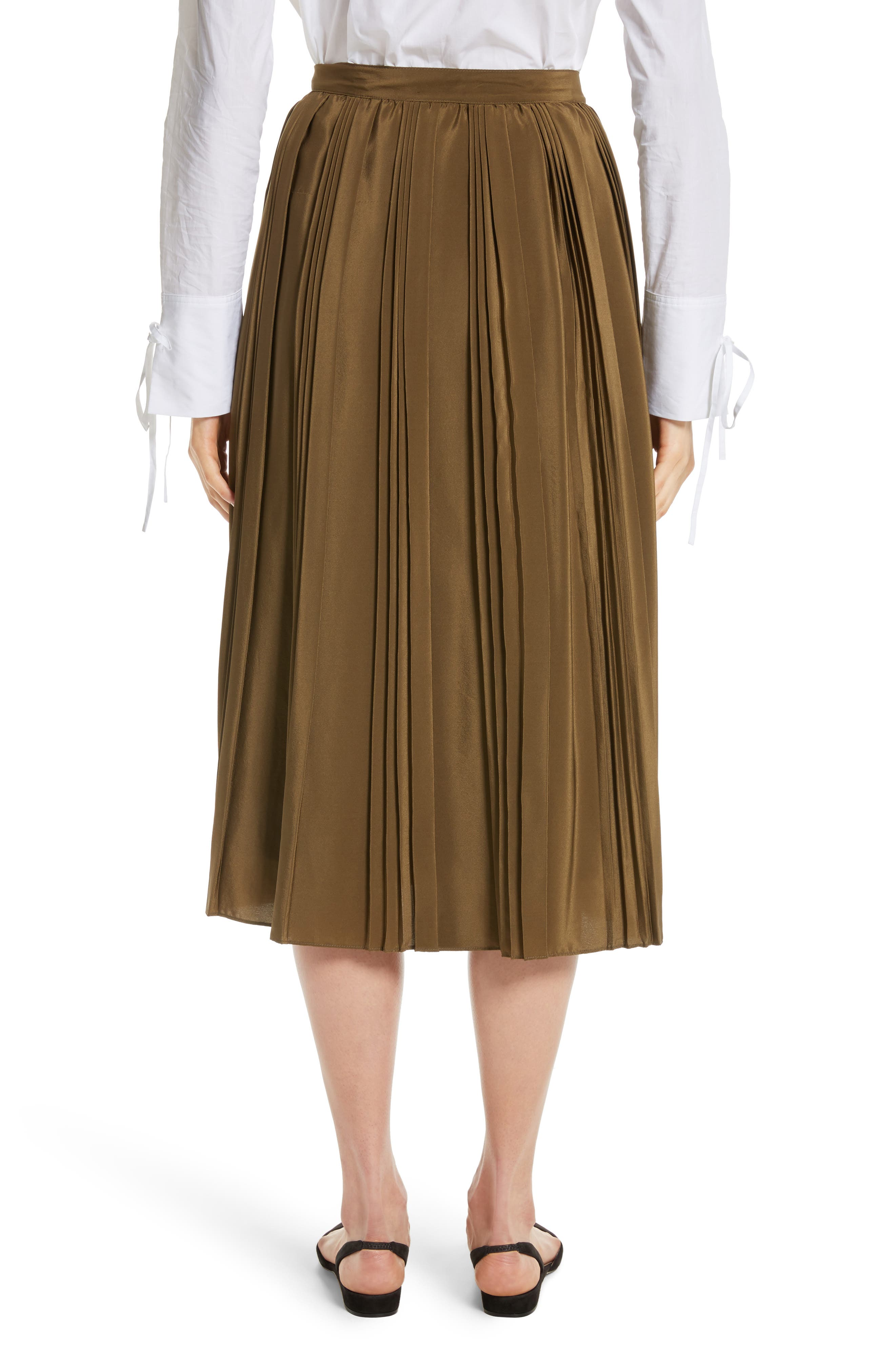 Pleated Silk Skirt,                             Alternate thumbnail 2, color,                             300