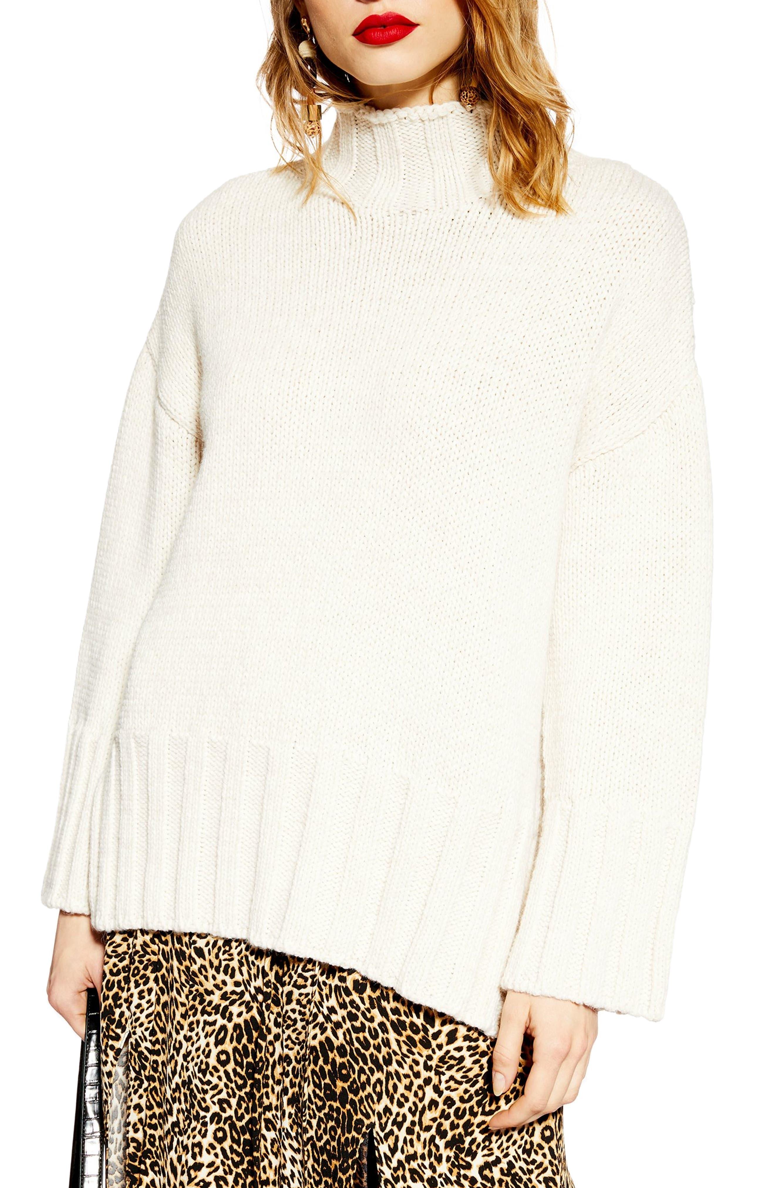 Oversize Longline Sweater,                             Main thumbnail 1, color,                             IVORY
